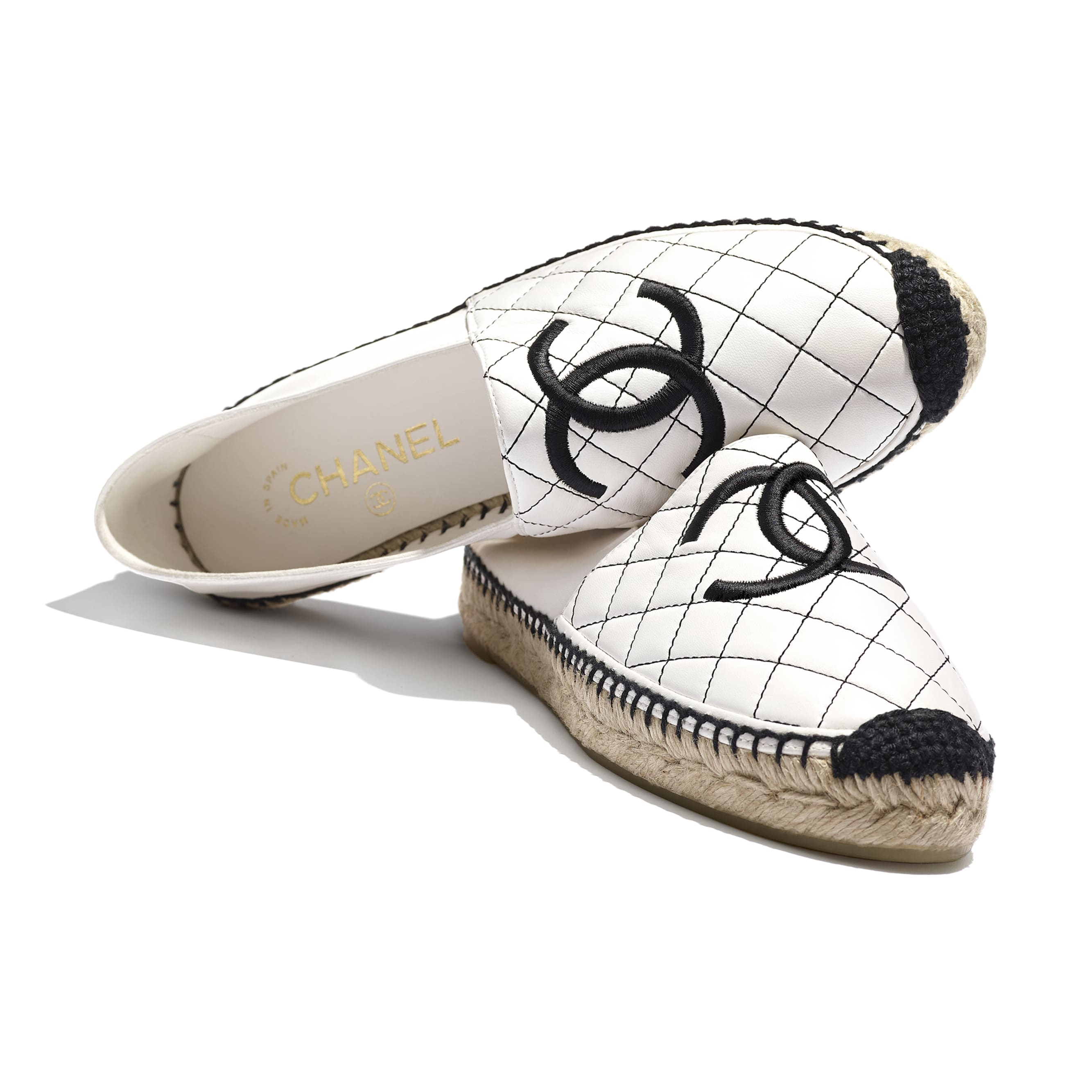 Espadrilles - White & Black - Lambskin - Extra view - see standard sized version
