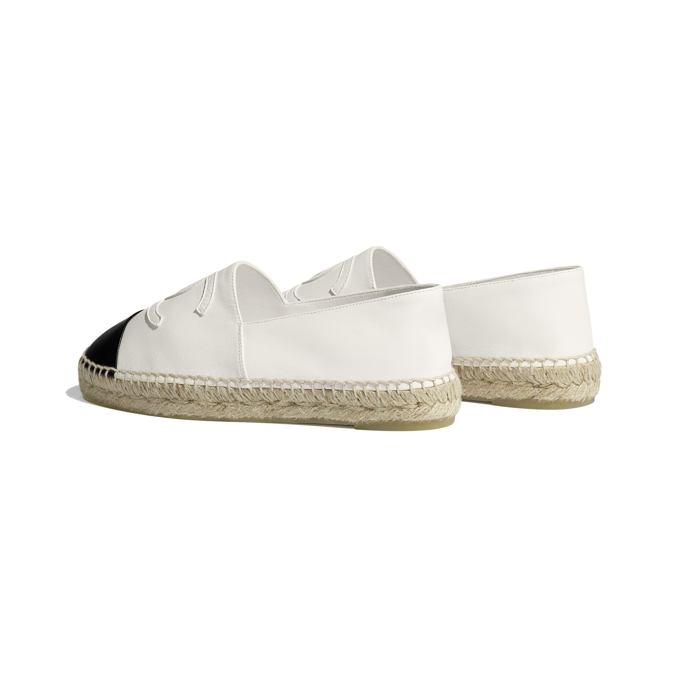 Espadrilles - White & Black - Lambskin - CHANEL - Other view - see standard sized version
