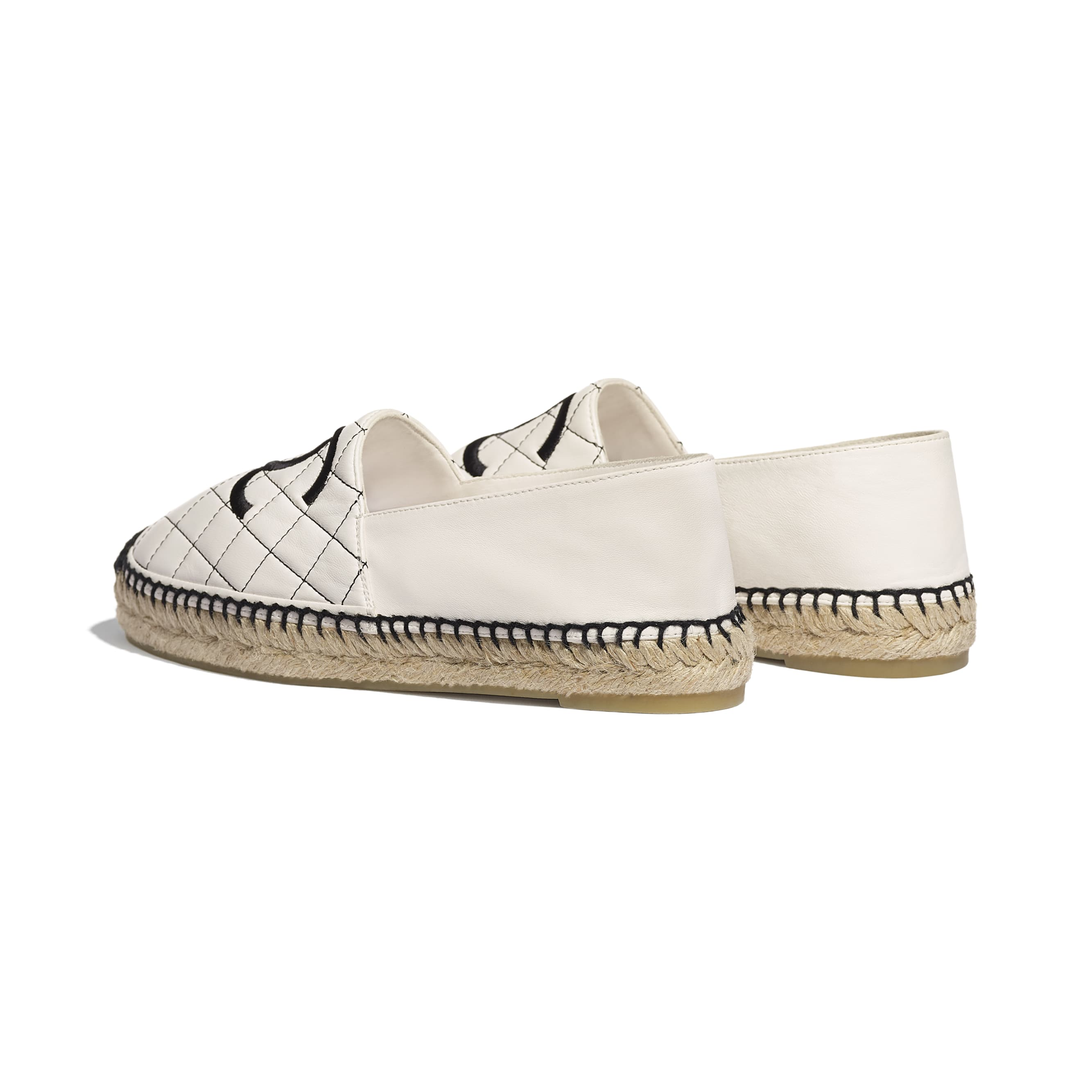Espadrilles - White & Black - Lambskin - Other view - see standard sized version