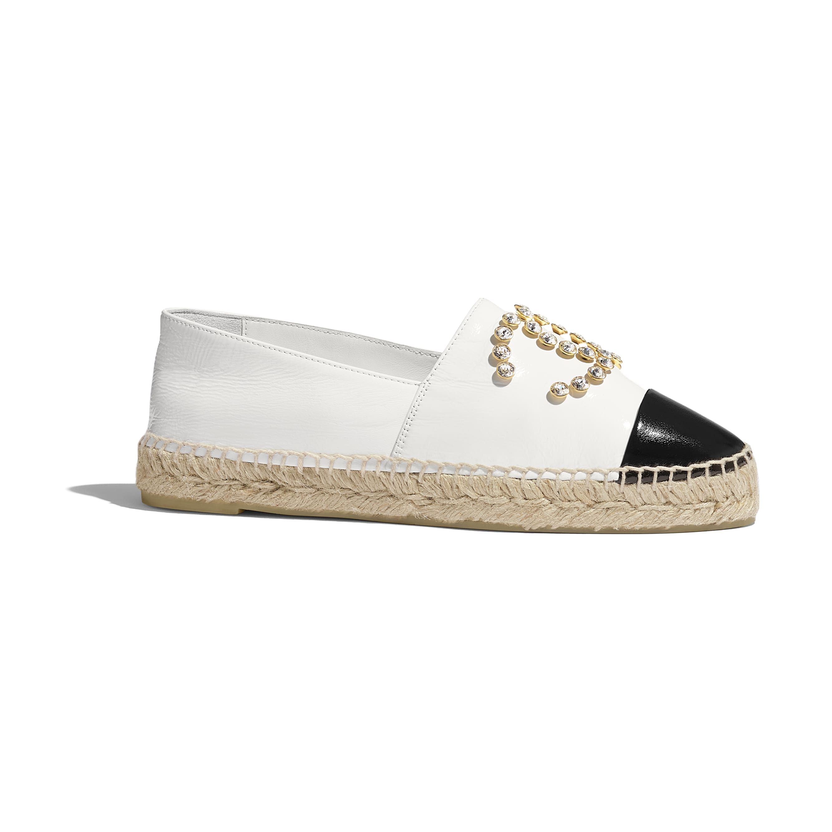 Espadrilles - White & Black - Patent Lambskin - CHANEL - Default view - see standard sized version