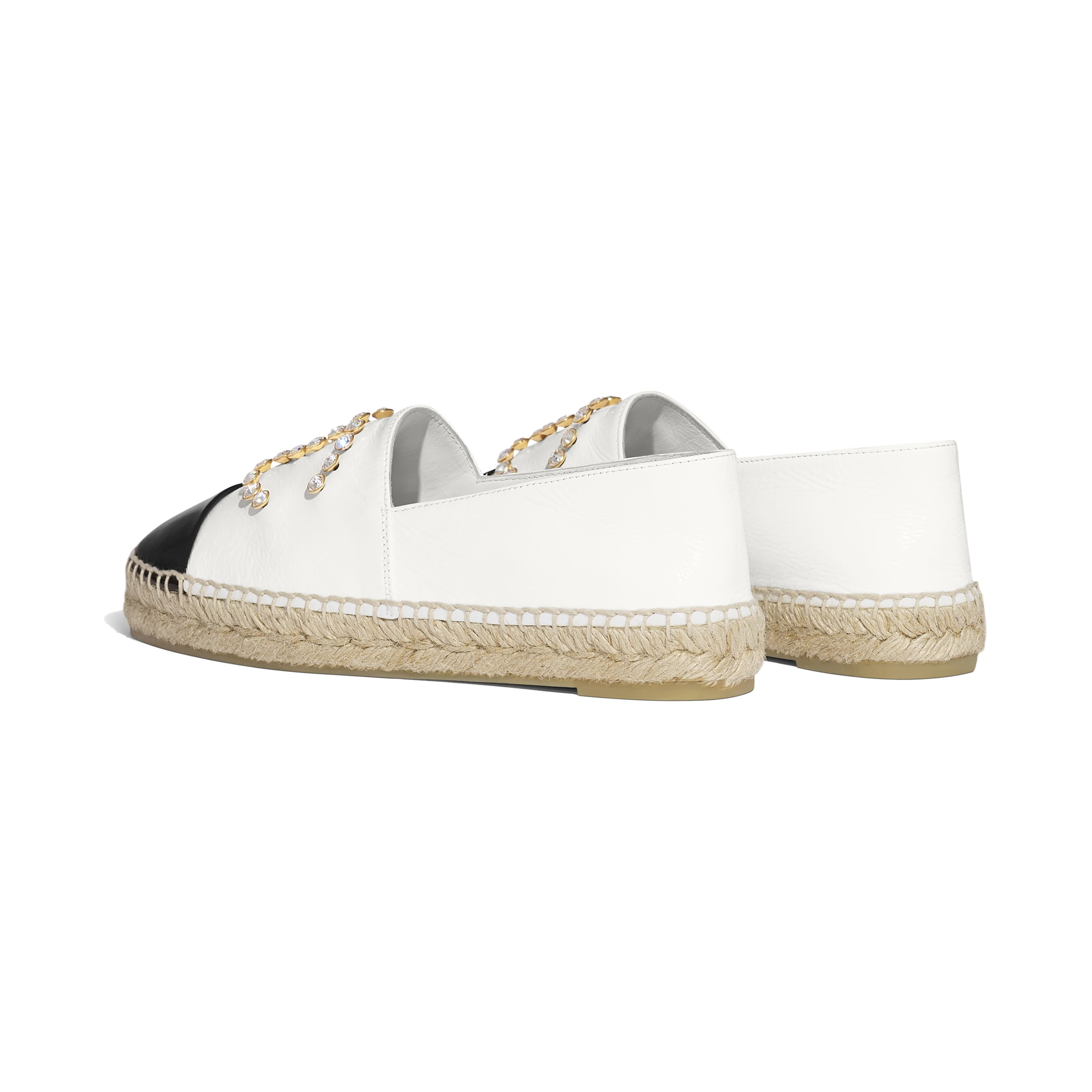 Espadrilles - White & Black - Patent Lambskin - CHANEL - Other view - see standard sized version