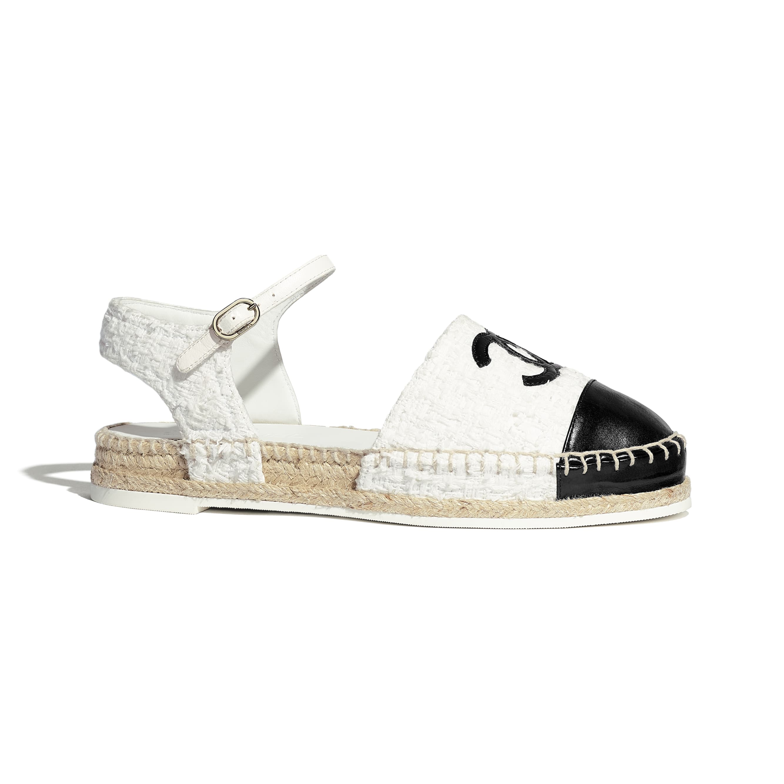 Espadrilles - White & Black - Tweed & Calfskin - Default view - see standard sized version