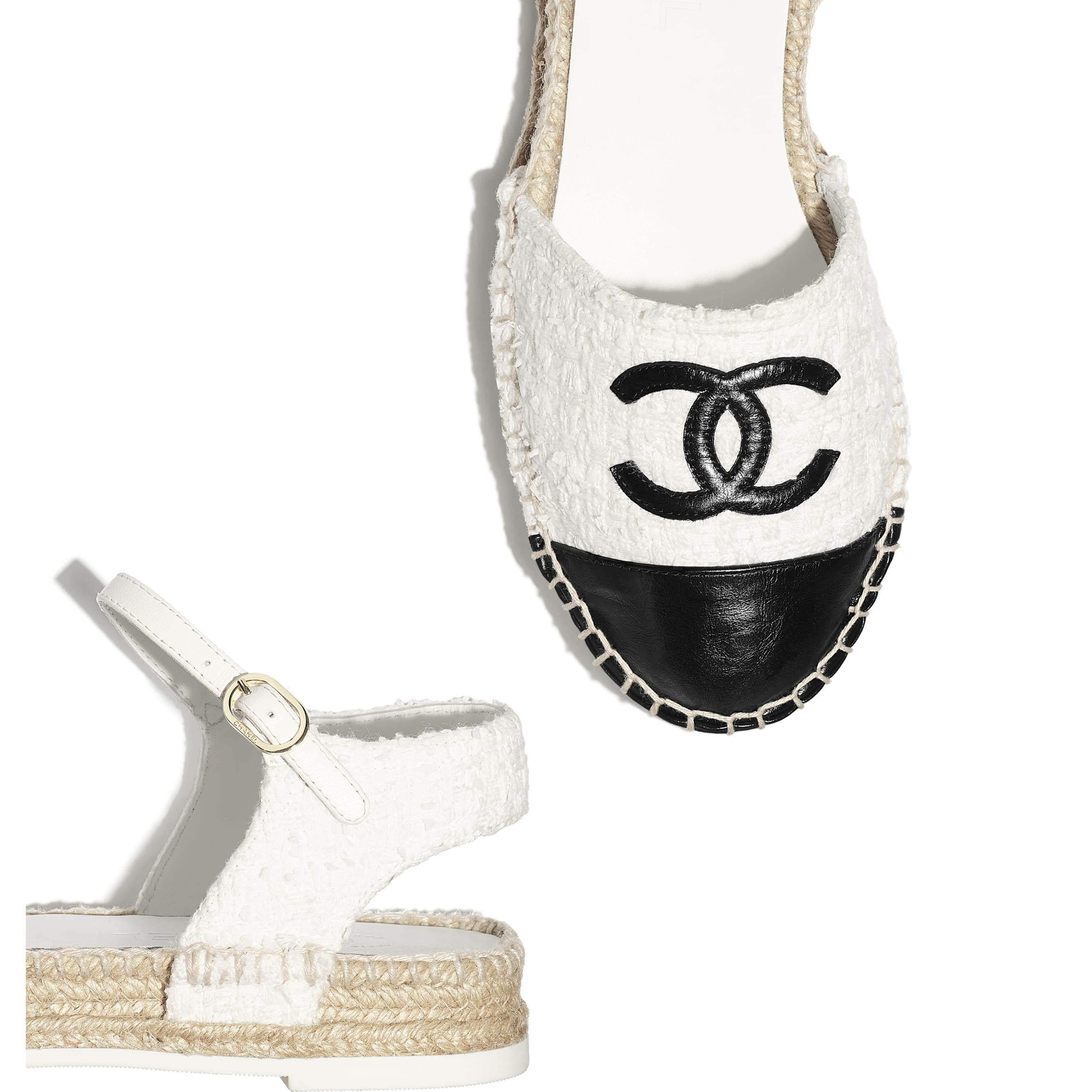 Espadrilles - White & Black - Tweed & Calfskin - Extra view - see standard sized version