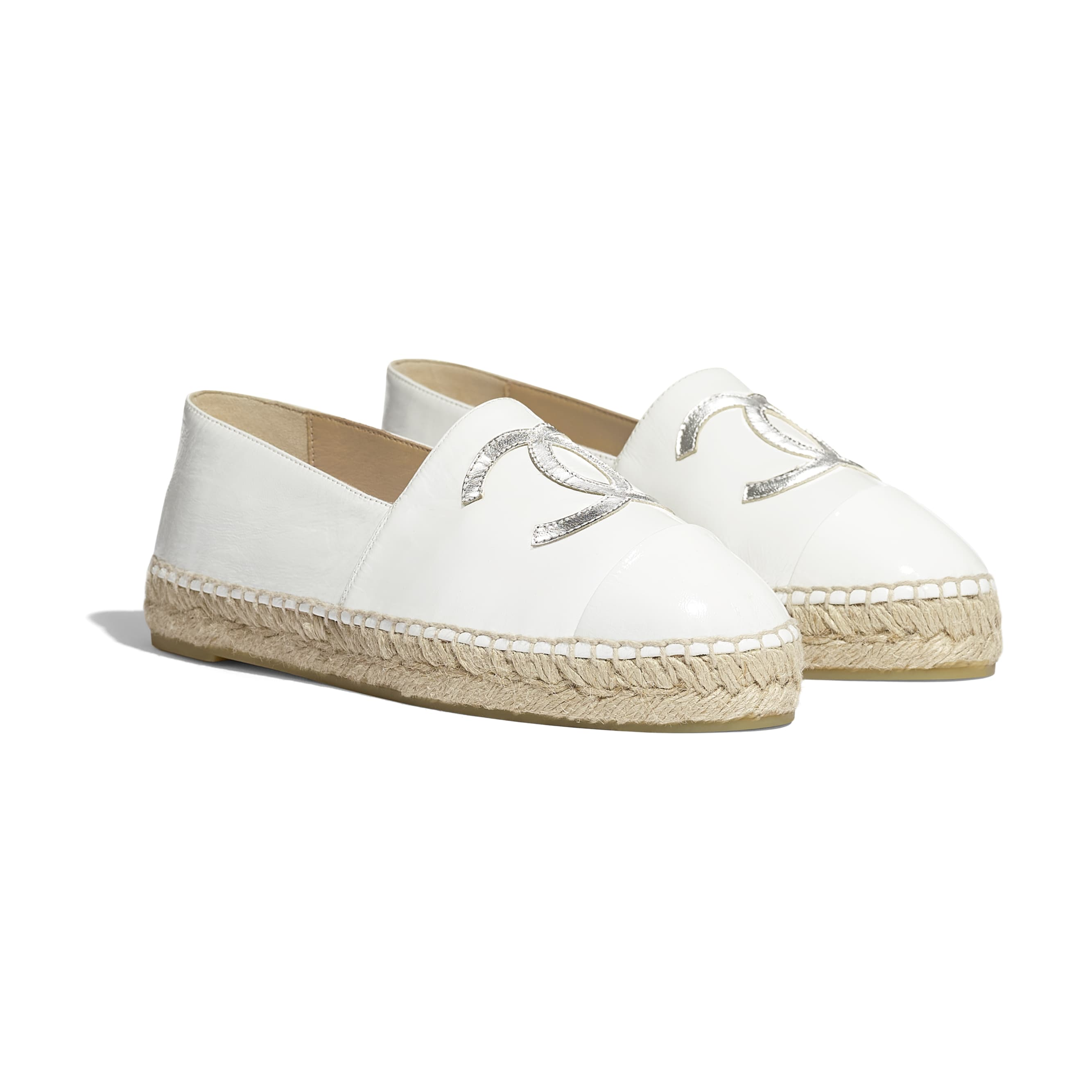 Espadrilles - White & Silver - Patent Calfskin & Metallic Goatskin - Alternative view - see standard sized version