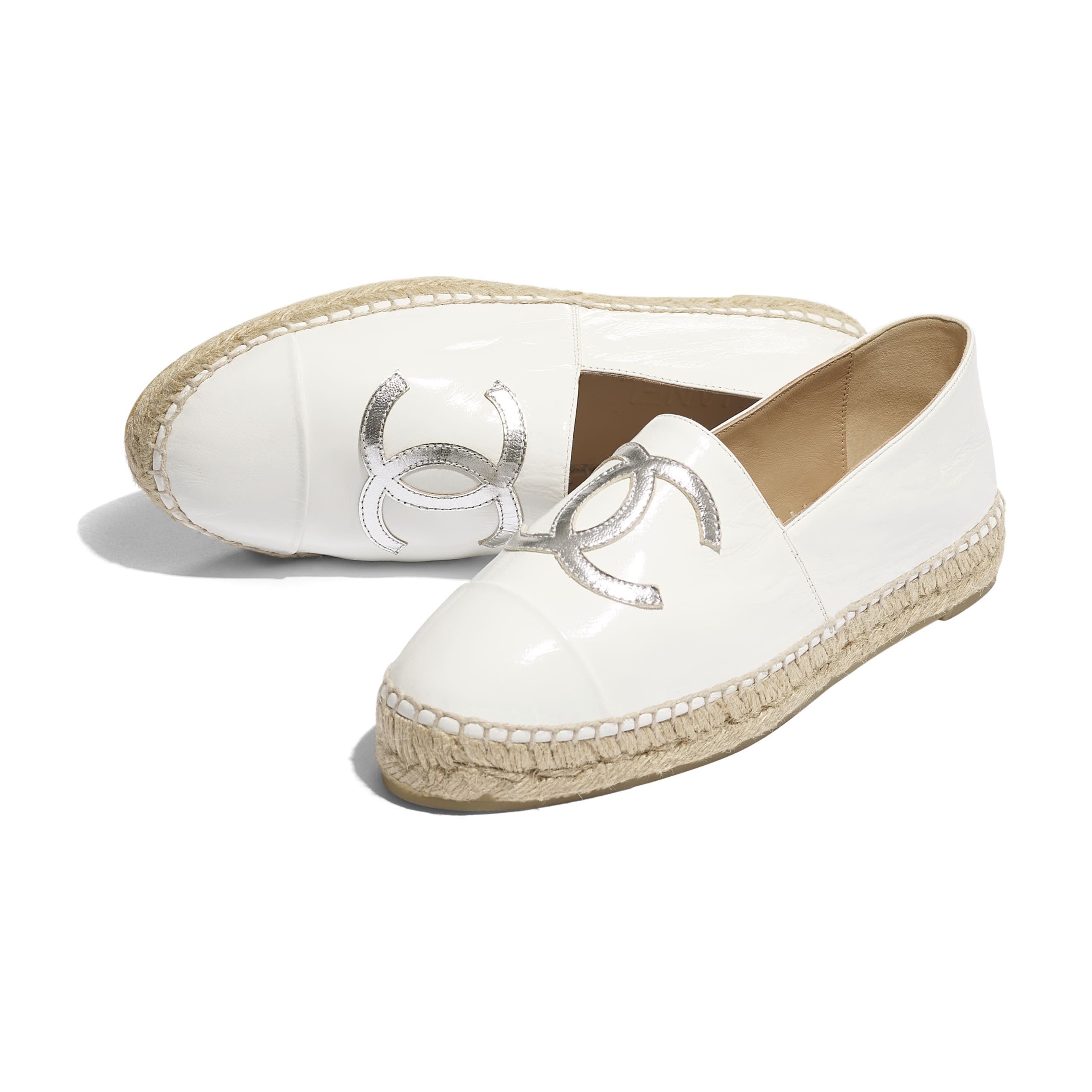 Espadrilles - White & Silver - Patent Calfskin & Metallic Goatskin - Extra view - see standard sized version