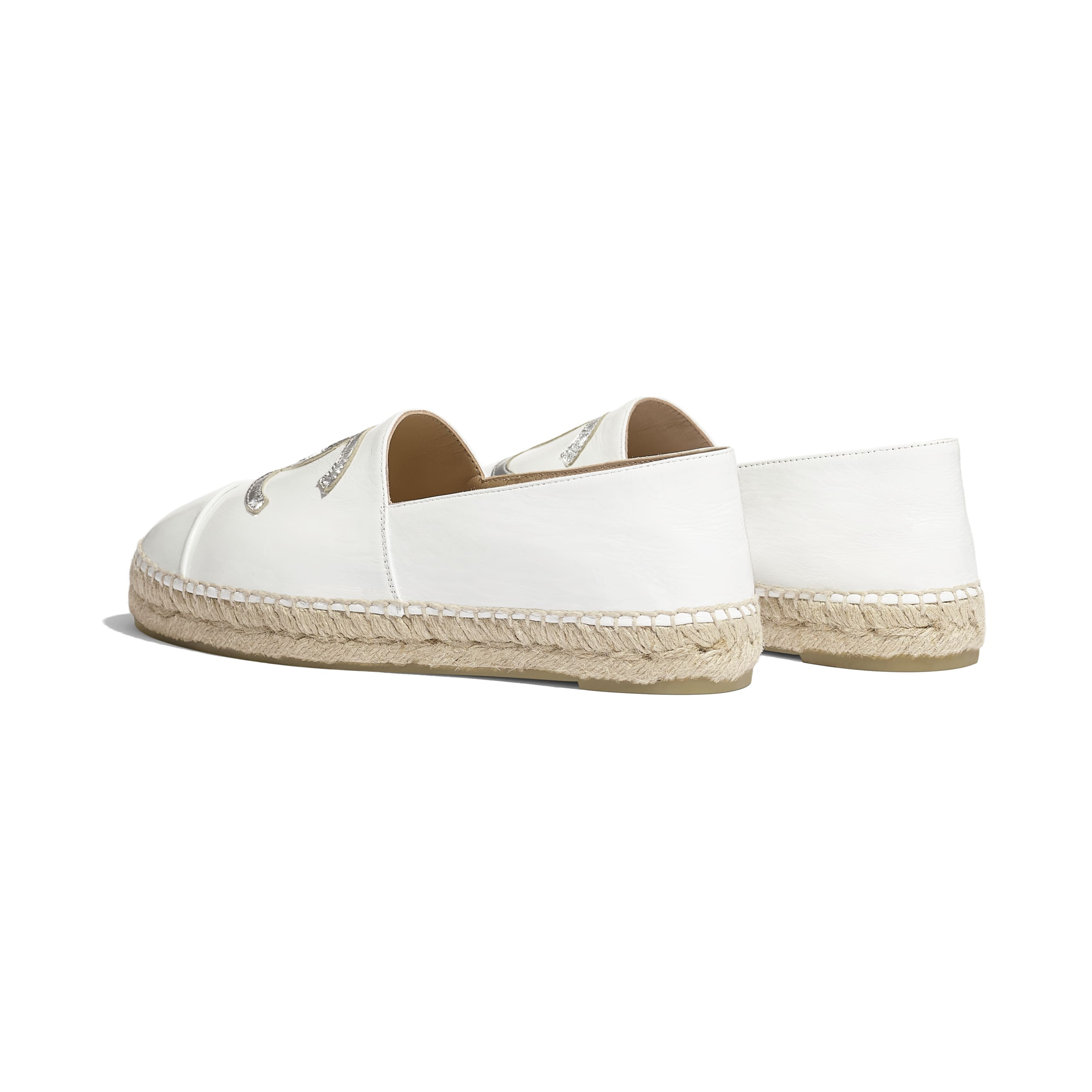 Espadrilles - White & Silver - Patent Calfskin & Metallic Goatskin - Other view - see standard sized version