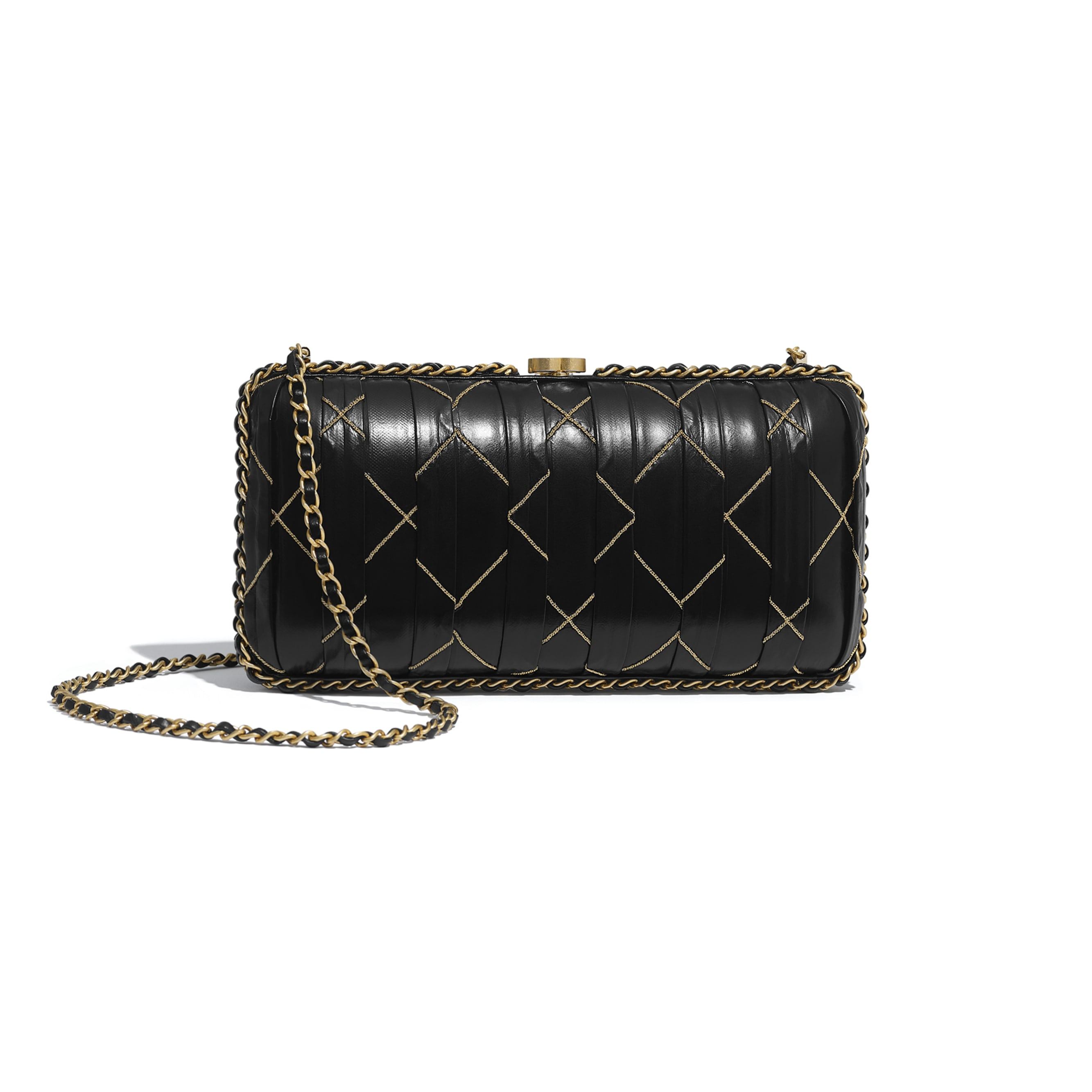 Evening Bag - Black - Calfskin & Gold-Tone Metal - Alternative view - see standard sized version