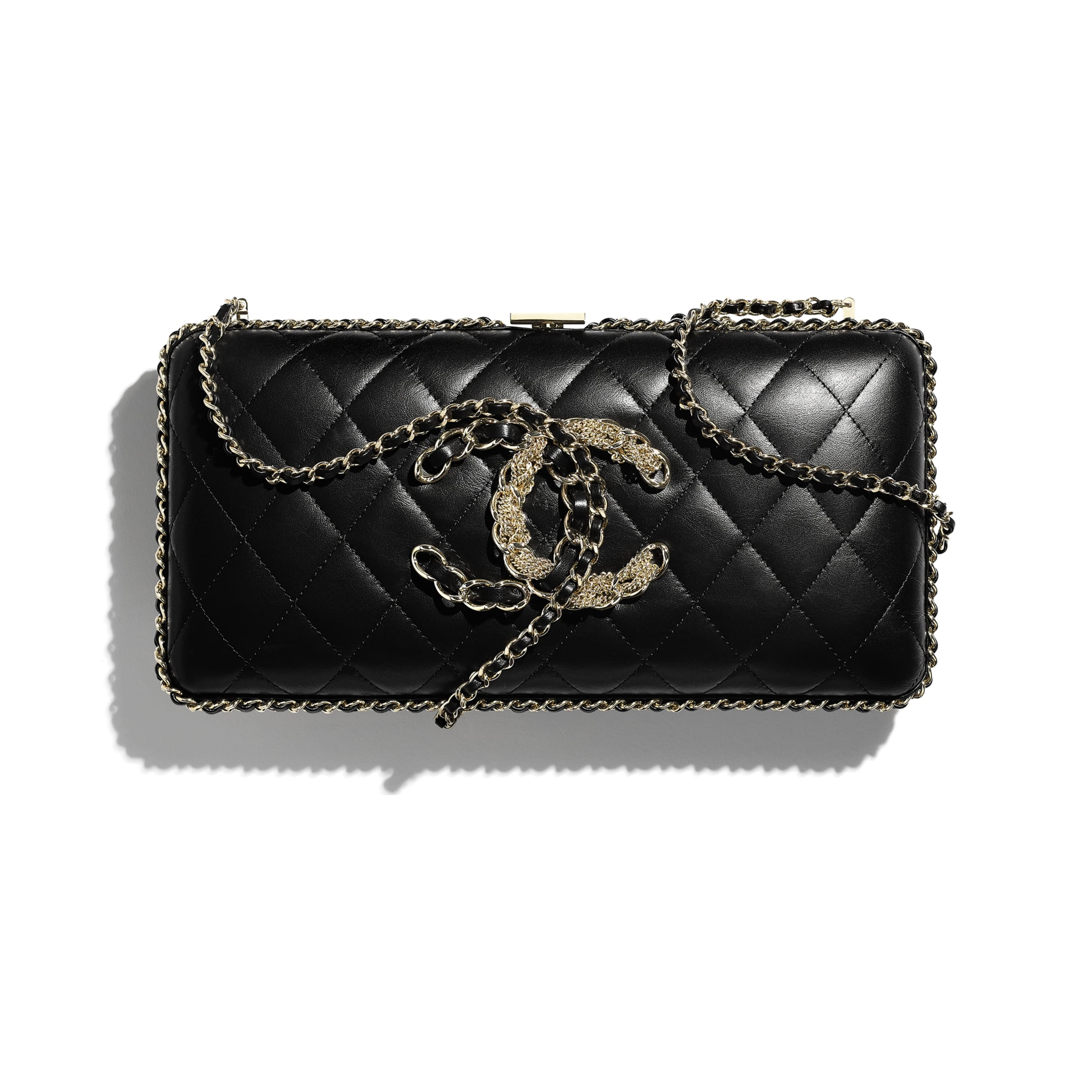 Evening Bag - Black - Calfskin & Gold-Tone Metal - CHANEL - Extra view - see standard sized version