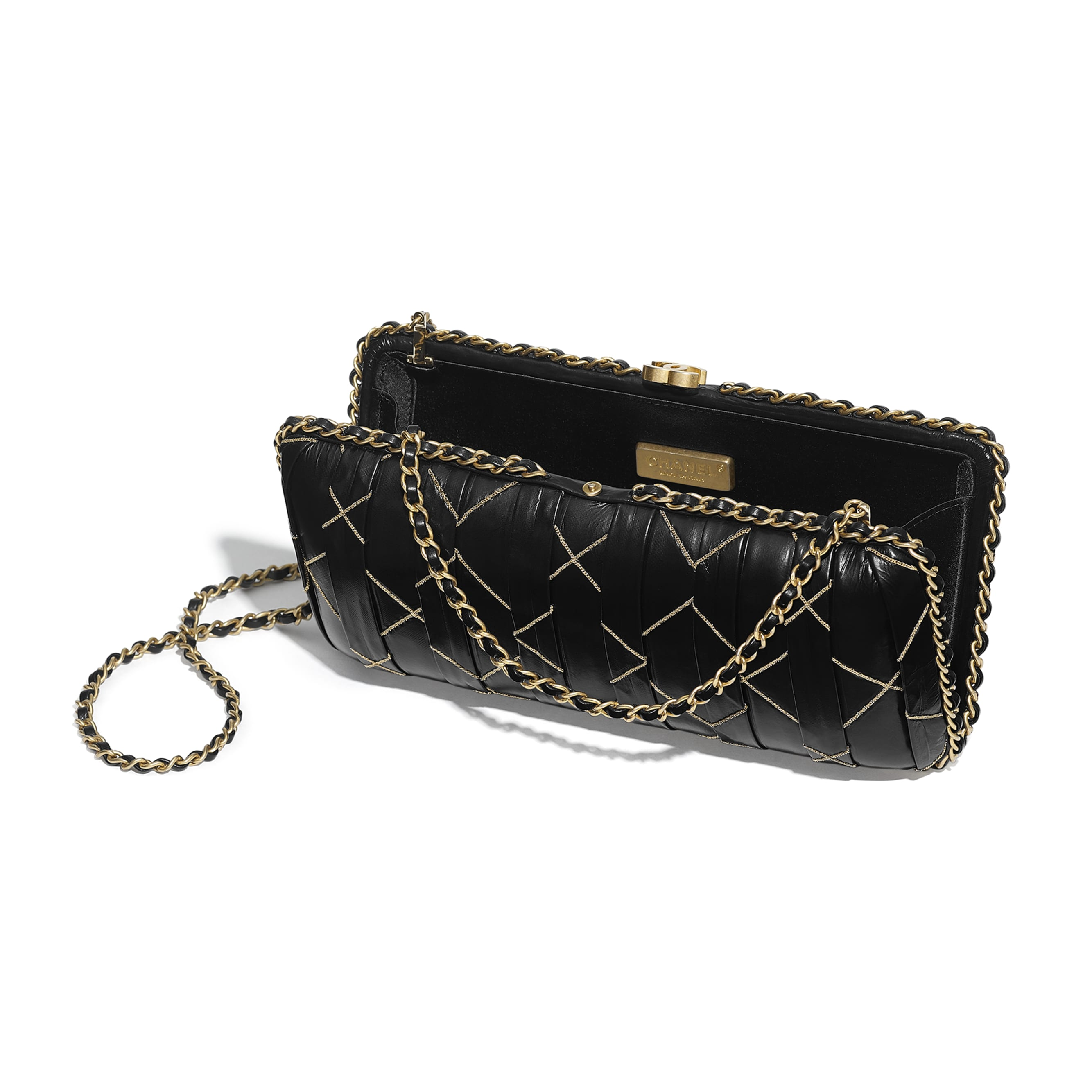 Evening Bag - Black - Calfskin & Gold-Tone Metal - Other view - see standard sized version
