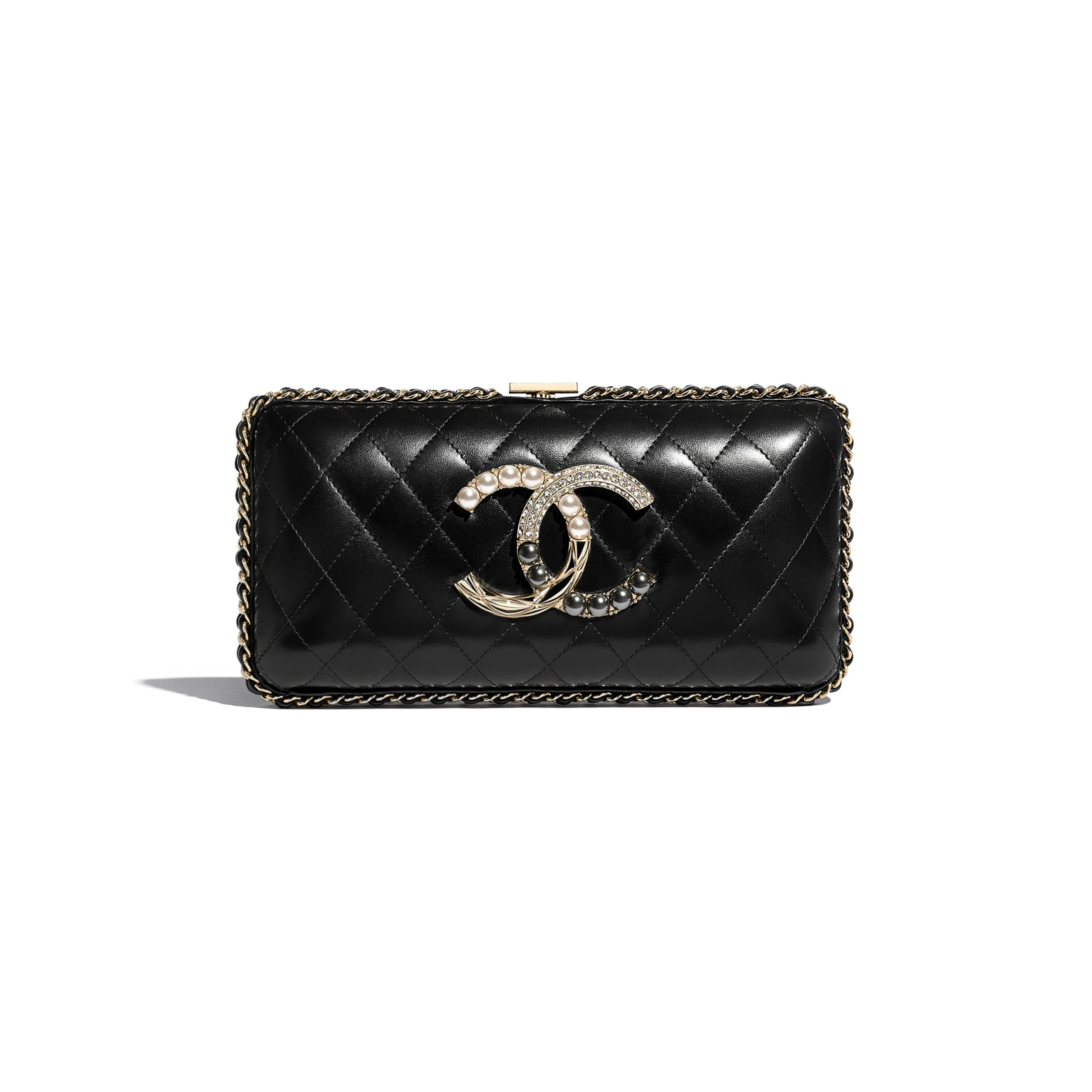 Evening Bag - Black - Lambskin, Imitation Pearls, Diamanté  & Gold-Tone Metal - Default view - see standard sized version