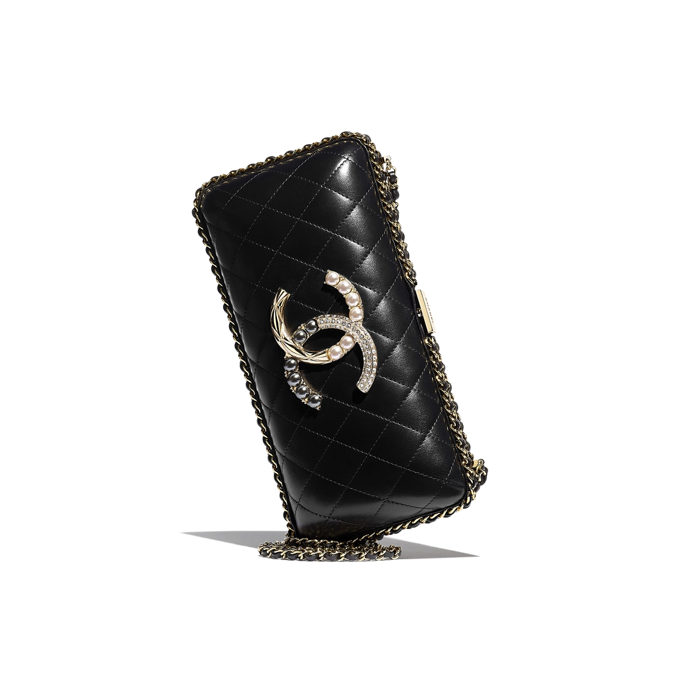 Evening Bag - Black - Lambskin, Imitation Pearls, Diamanté  & Gold-Tone Metal - Extra view - see standard sized version