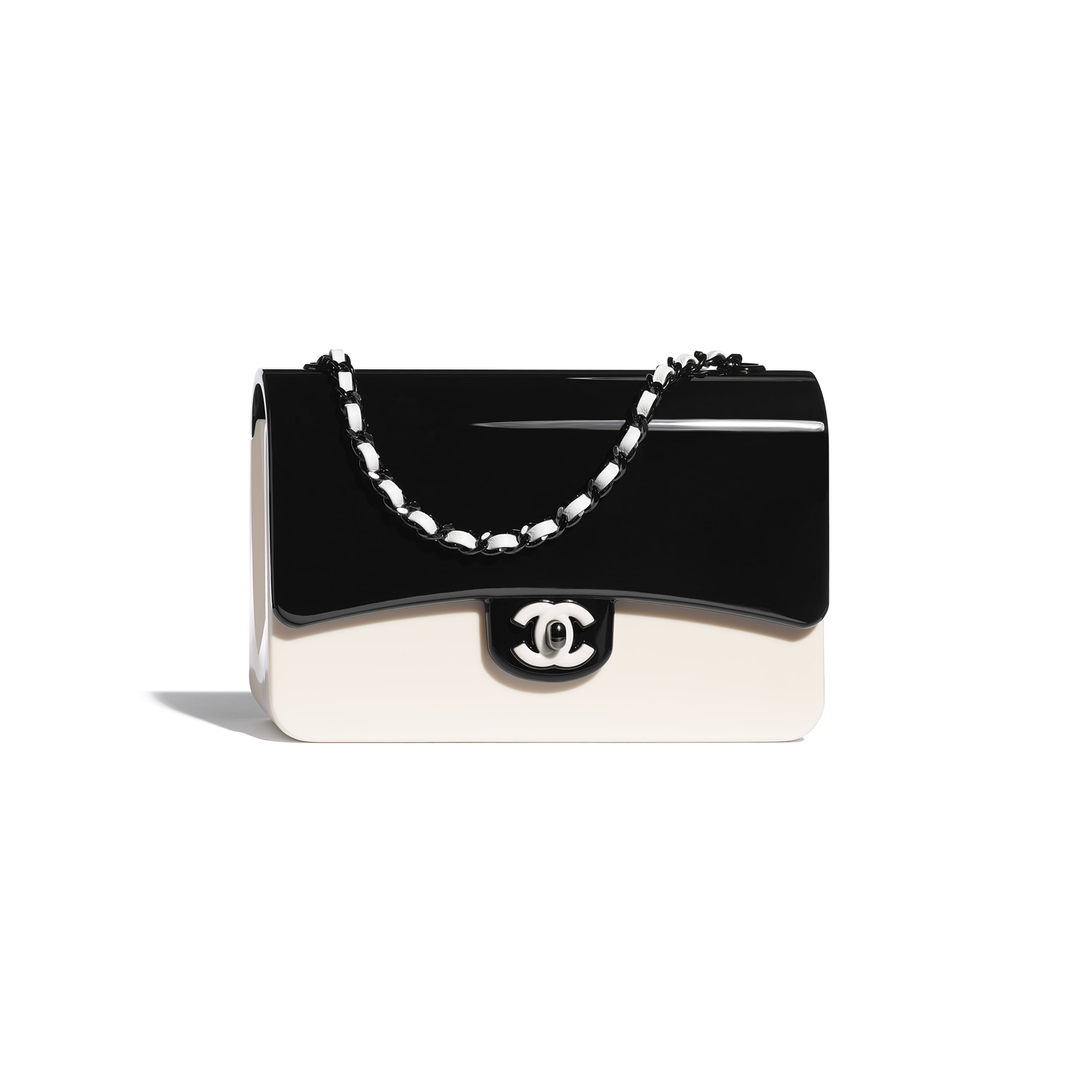 Evening Bag - Black & White - Plexi & Black Metal - CHANEL - Default view - see standard sized version