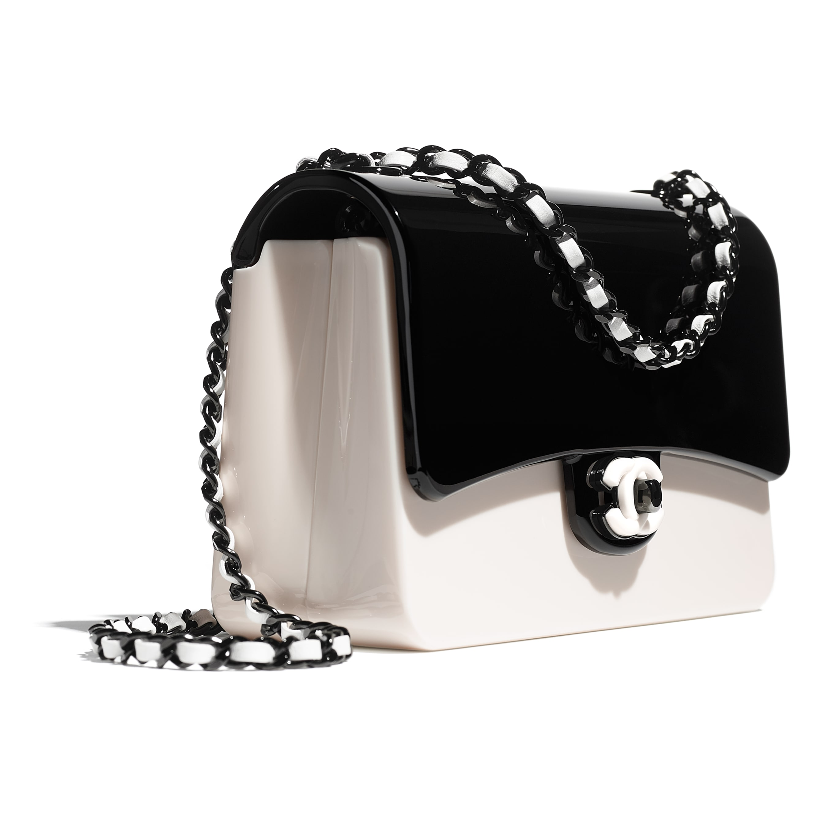 Evening Bag - Black & White - Plexi & Black Metal - CHANEL - Extra view - see standard sized version