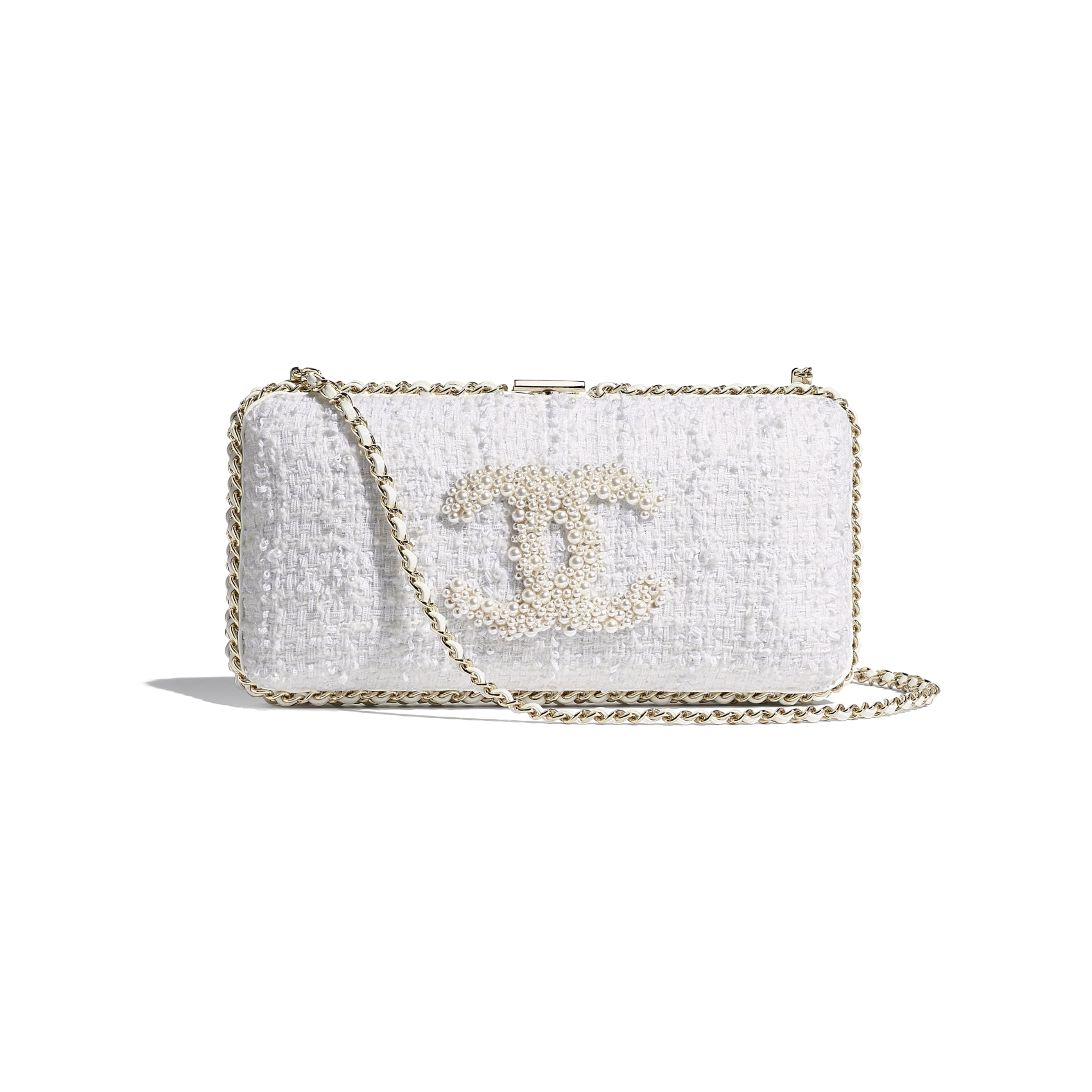 Evening Bag - Ecru - Tweed, Crystal Pearls & Gold-Tone Metal - CHANEL - Default view - see standard sized version