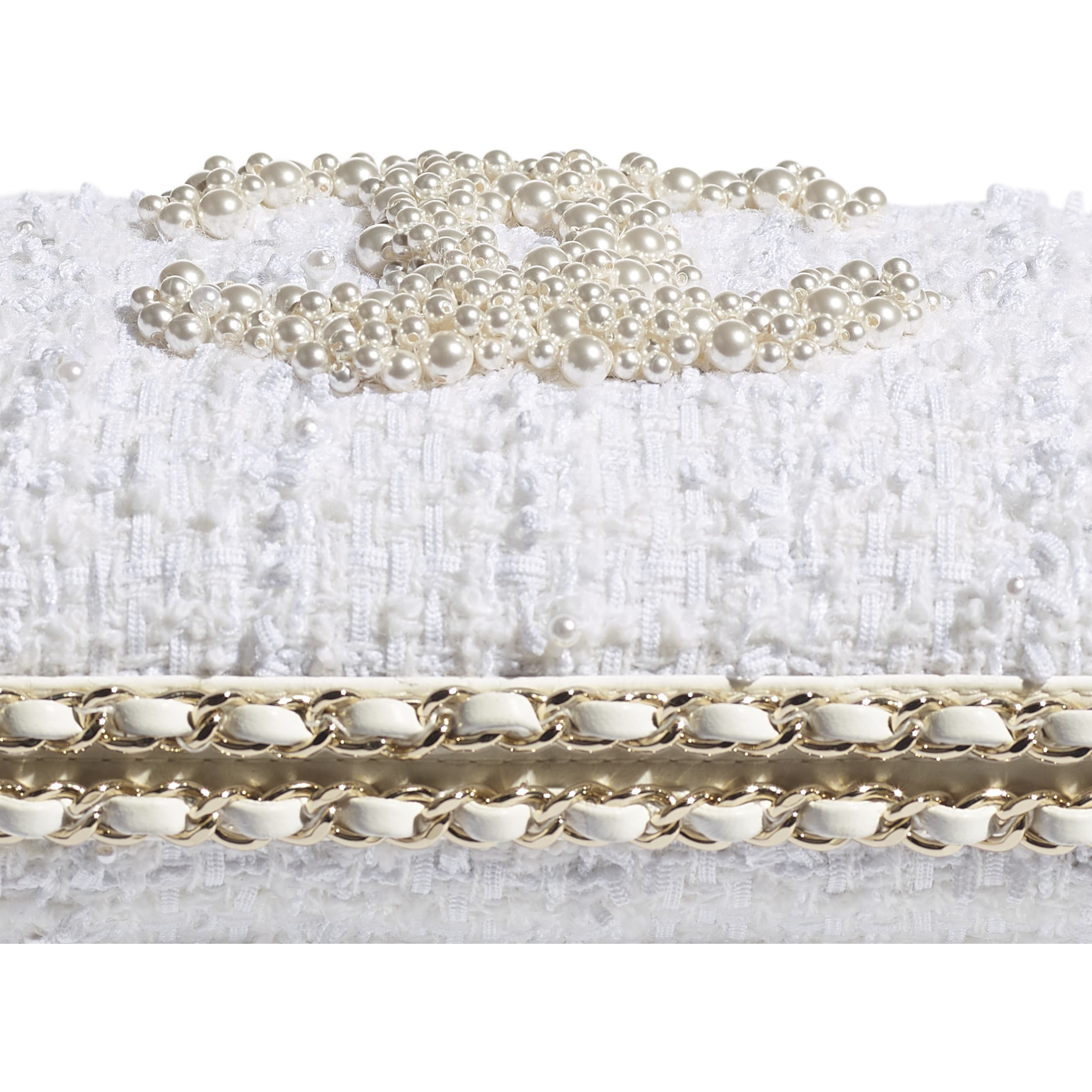 Evening Bag - Ecru - Tweed, Crystal Pearls & Gold-Tone Metal - CHANEL - Extra view - see standard sized version