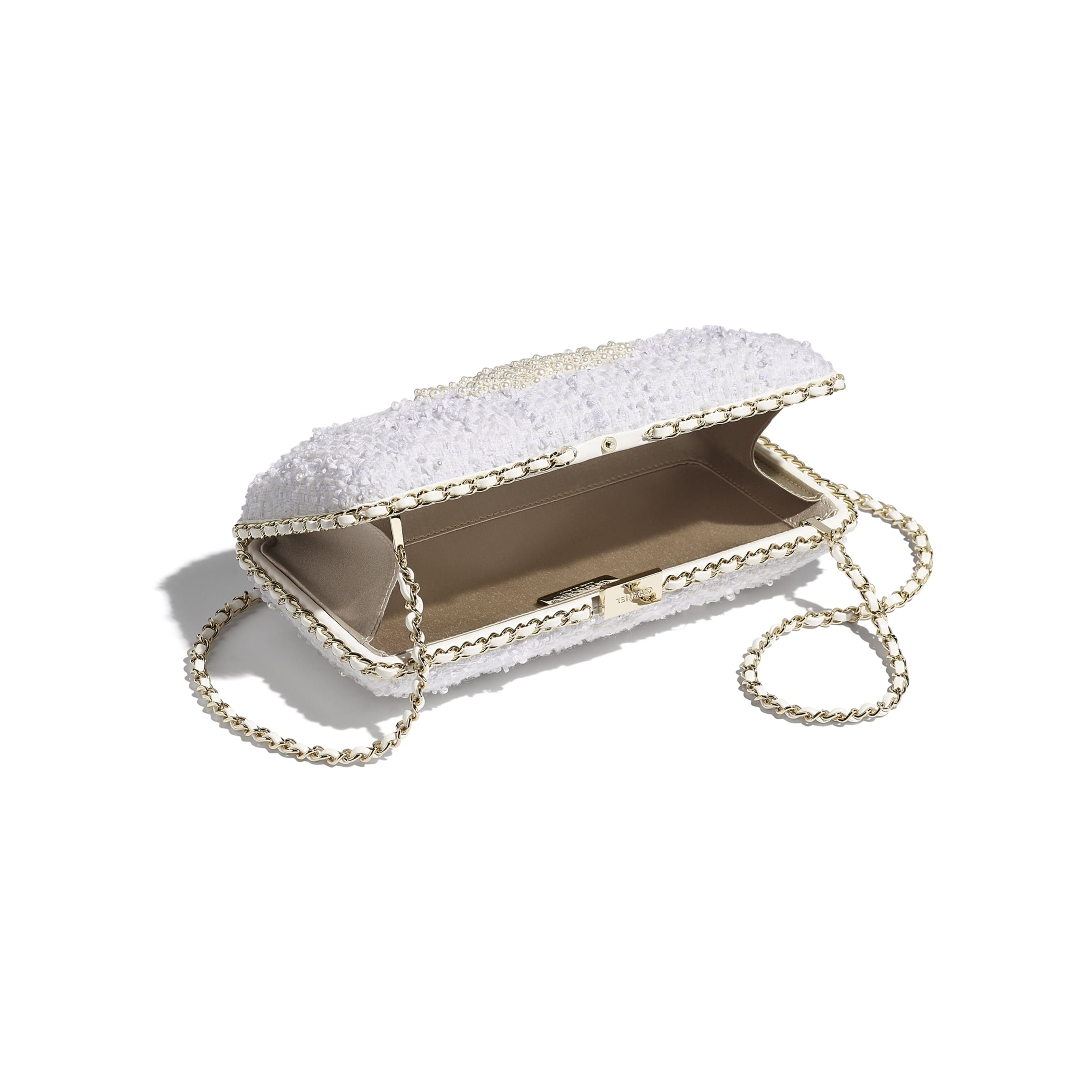 Evening Bag - Ecru - Tweed, Crystal Pearls & Gold-Tone Metal - CHANEL - Other view - see standard sized version