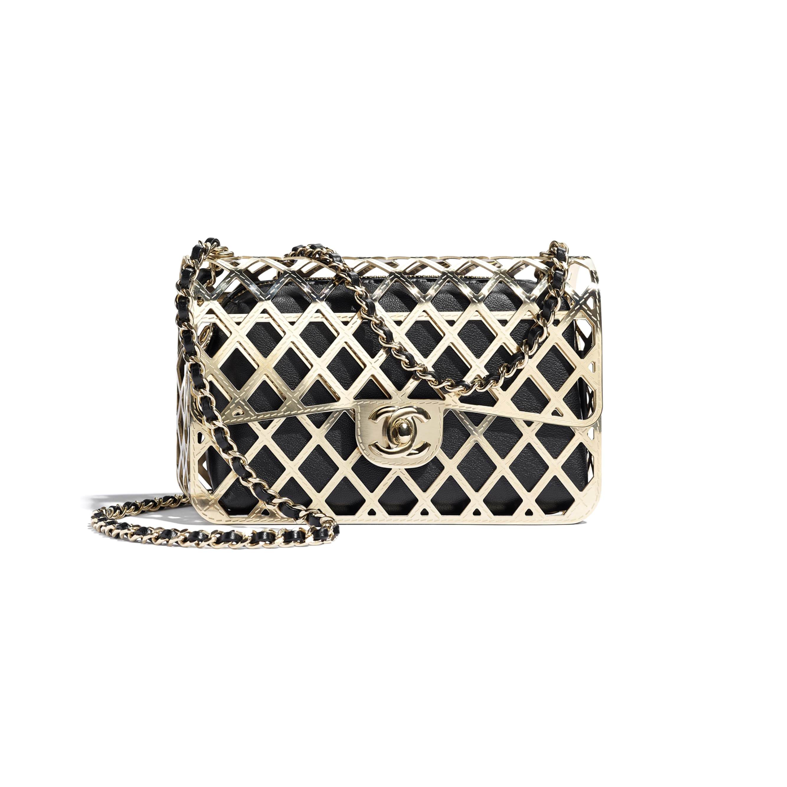 Evening Bag - Gold & Black - Gold-Tone Metal & Lambskin - CHANEL - Default view - see standard sized version