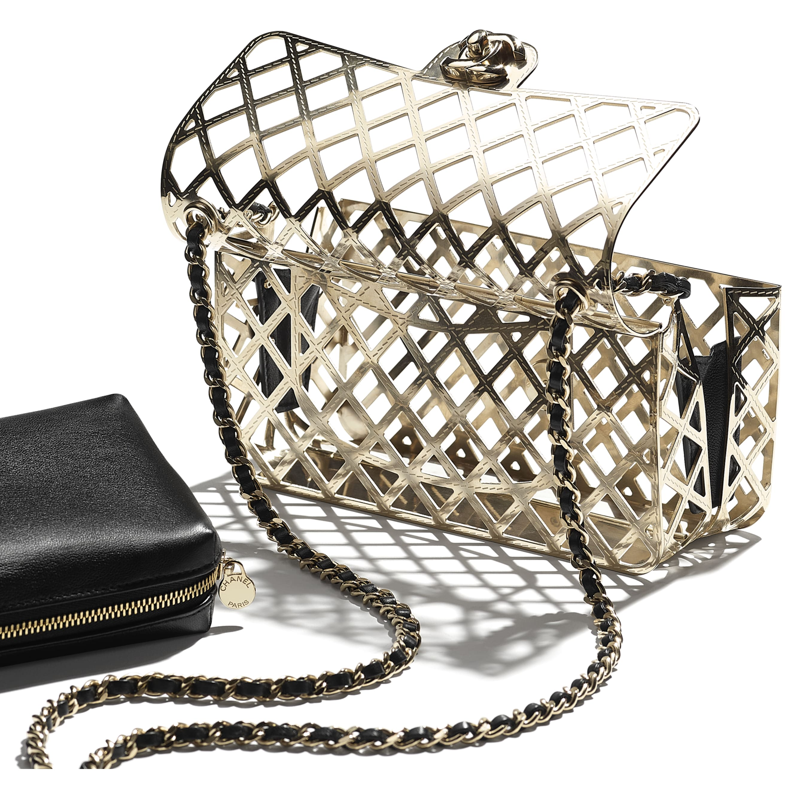 Evening Bag - Gold & Black - Gold-Tone Metal & Lambskin - CHANEL - Extra view - see standard sized version