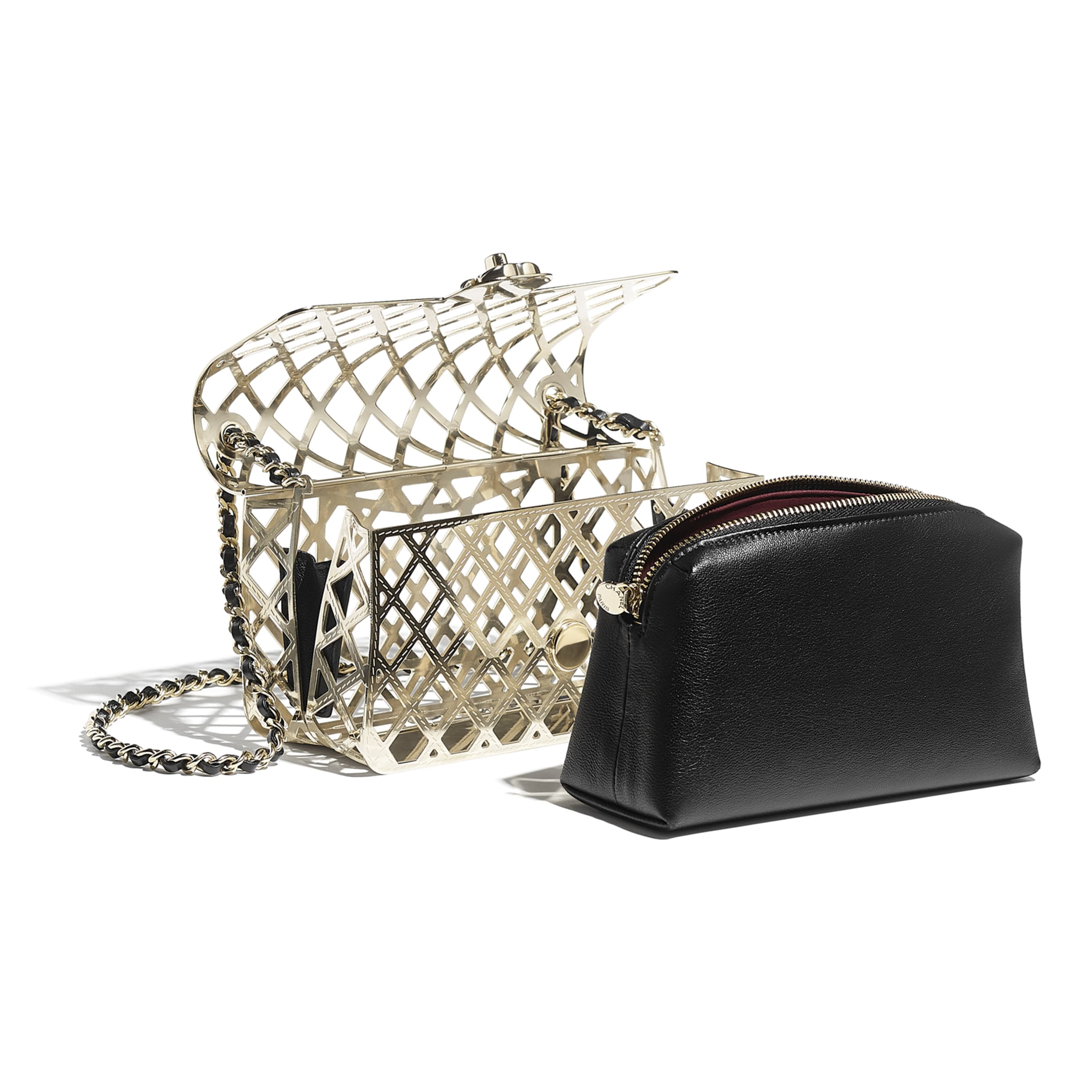 Evening Bag - Gold & Black - Gold-Tone Metal & Lambskin - CHANEL - Other view - see standard sized version