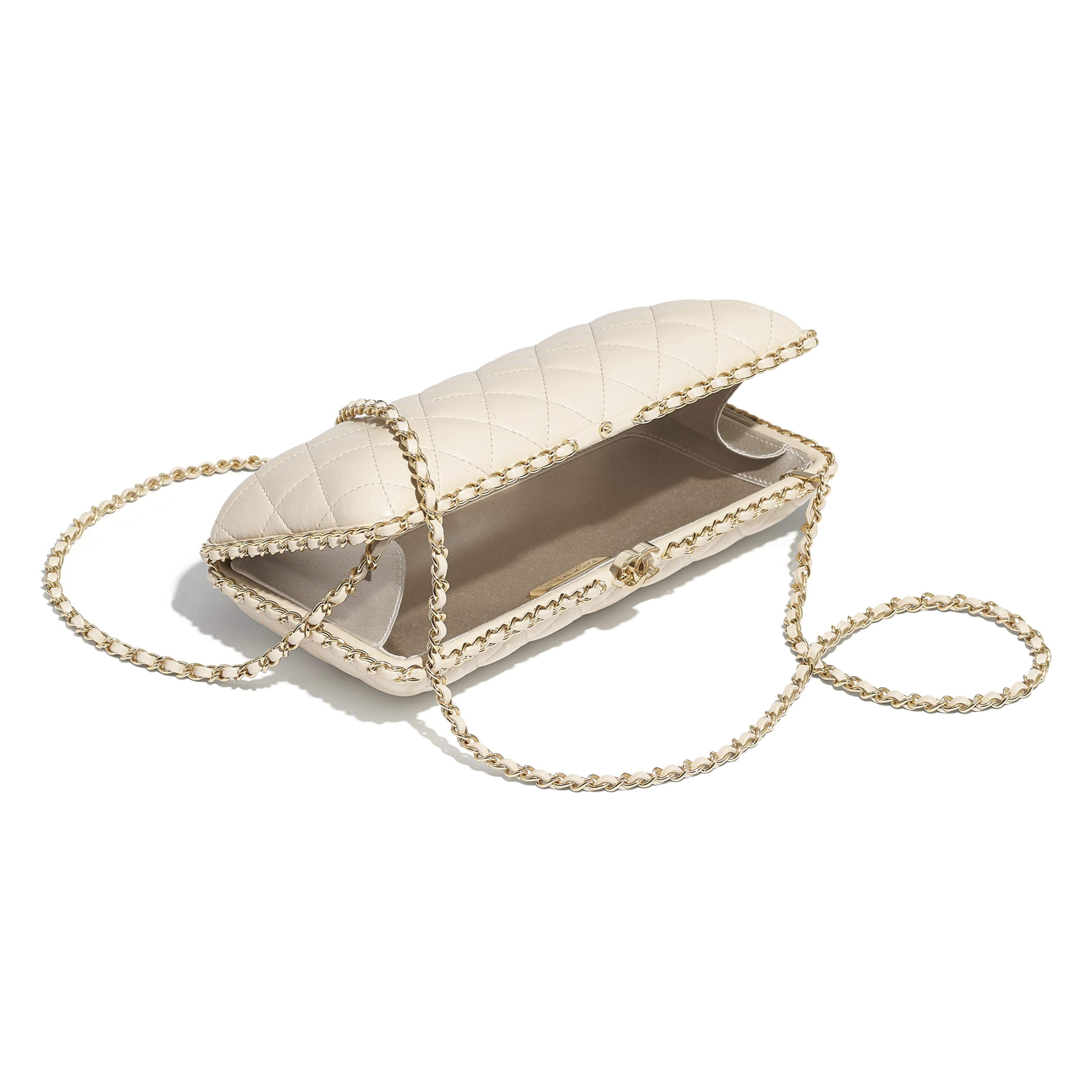 Evening Bag - Light Beige - Lambskin & Gold-Tone Metal - CHANEL - Other view - see standard sized version