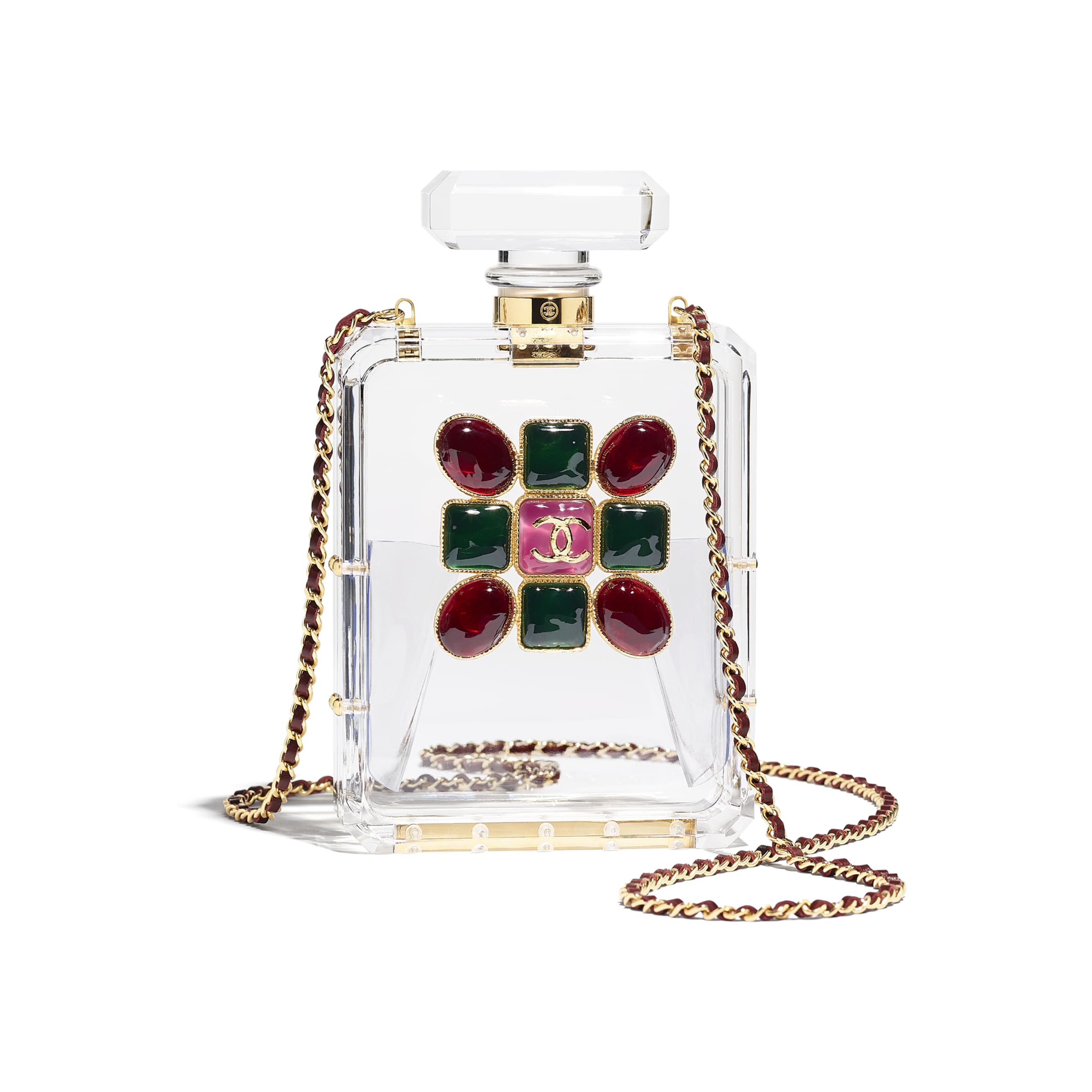 Evening Bag - Transparent, Red & Green - Resin, Enamel & Gold-Tone Metal - CHANEL - Default view - see standard sized version