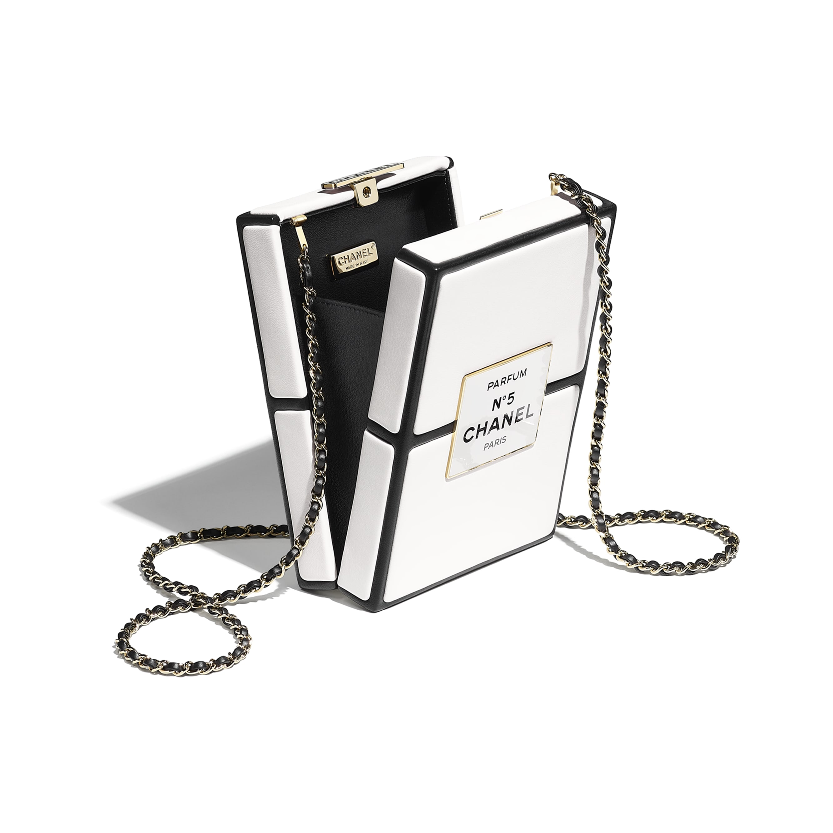 Evening Bag - White & Black - Lambskin - CHANEL - Other view - see standard sized version