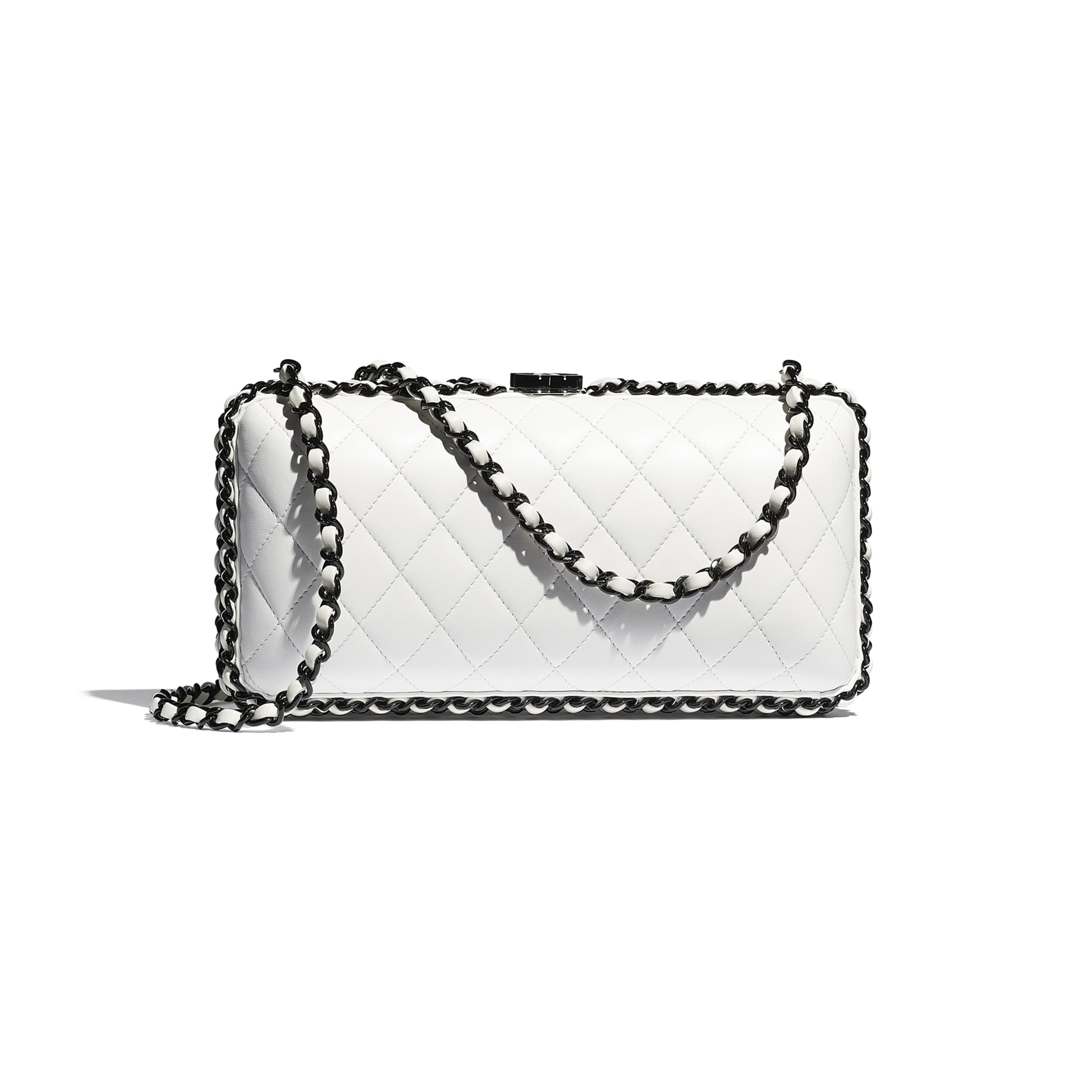 Evening Bag - White & Black -  Lambskin & Lacquered Metal - CHANEL - Alternative view - see standard sized version