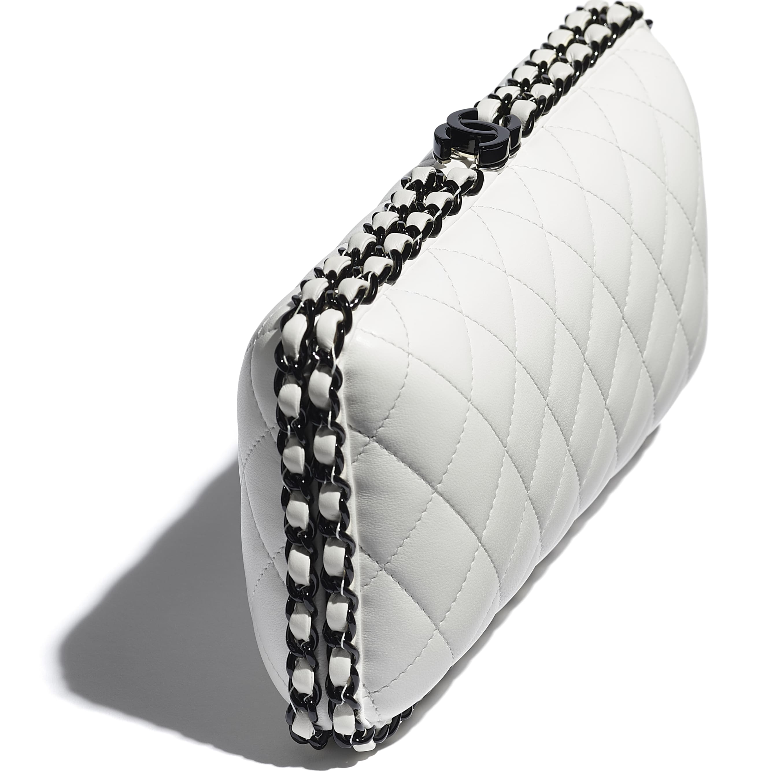 Evening Bag - White & Black -  Lambskin & Lacquered Metal - CHANEL - Extra view - see standard sized version