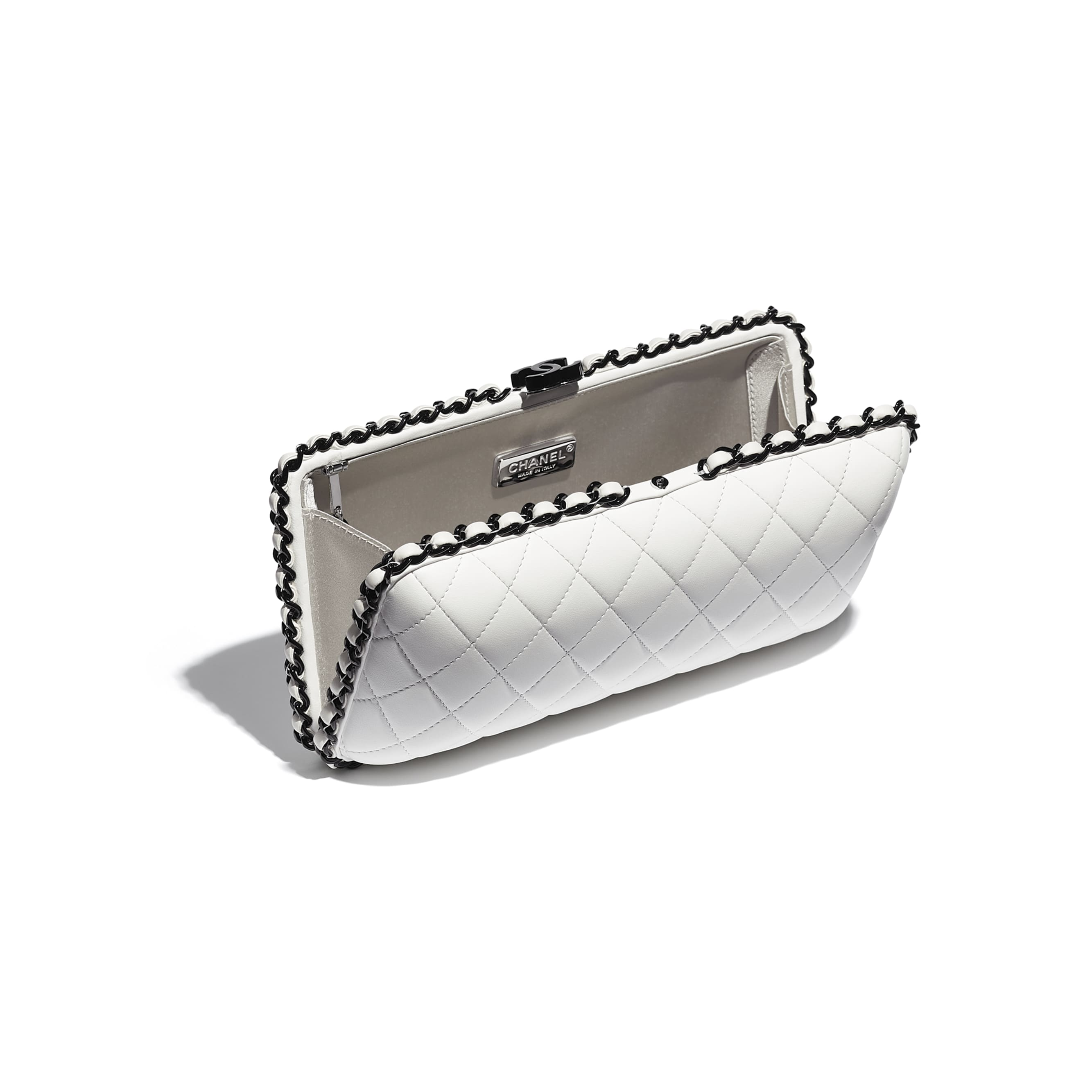 Evening Bag - White & Black -  Lambskin & Lacquered Metal - CHANEL - Other view - see standard sized version