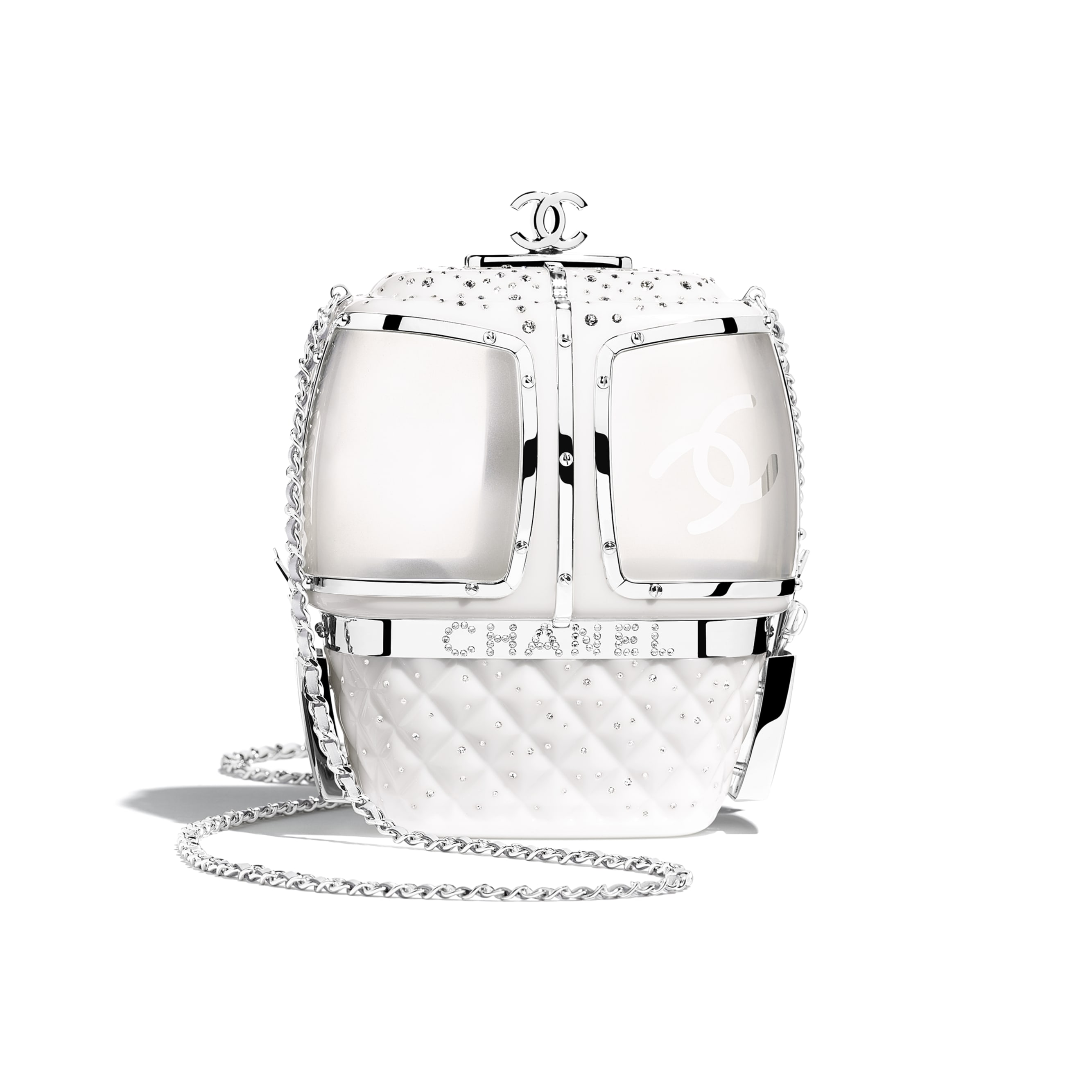 Evening Bag - White - Resin, Diamanté & Silver-Tone Metal - Alternative view - see standard sized version