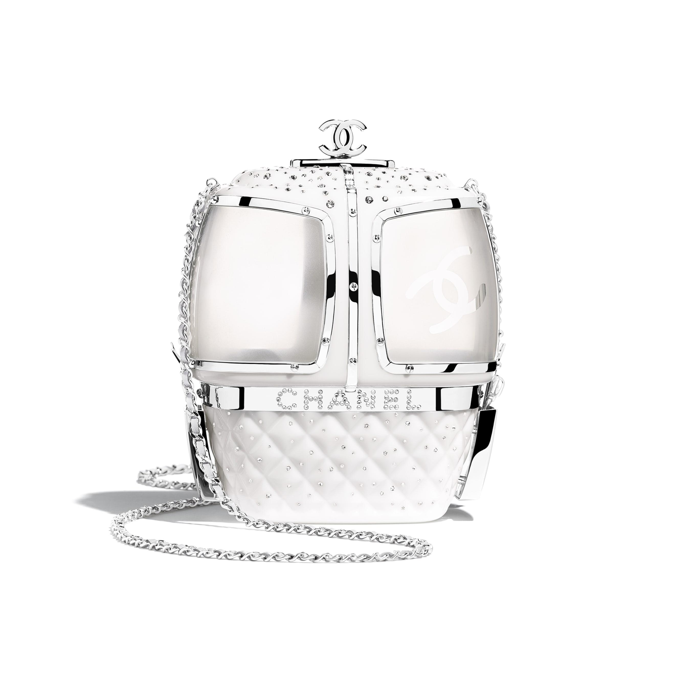 Вечерняя сумка - Белый - Смола, стразы и серебристый металл - Альтернативный вид - посмотреть изображение стандартного размера