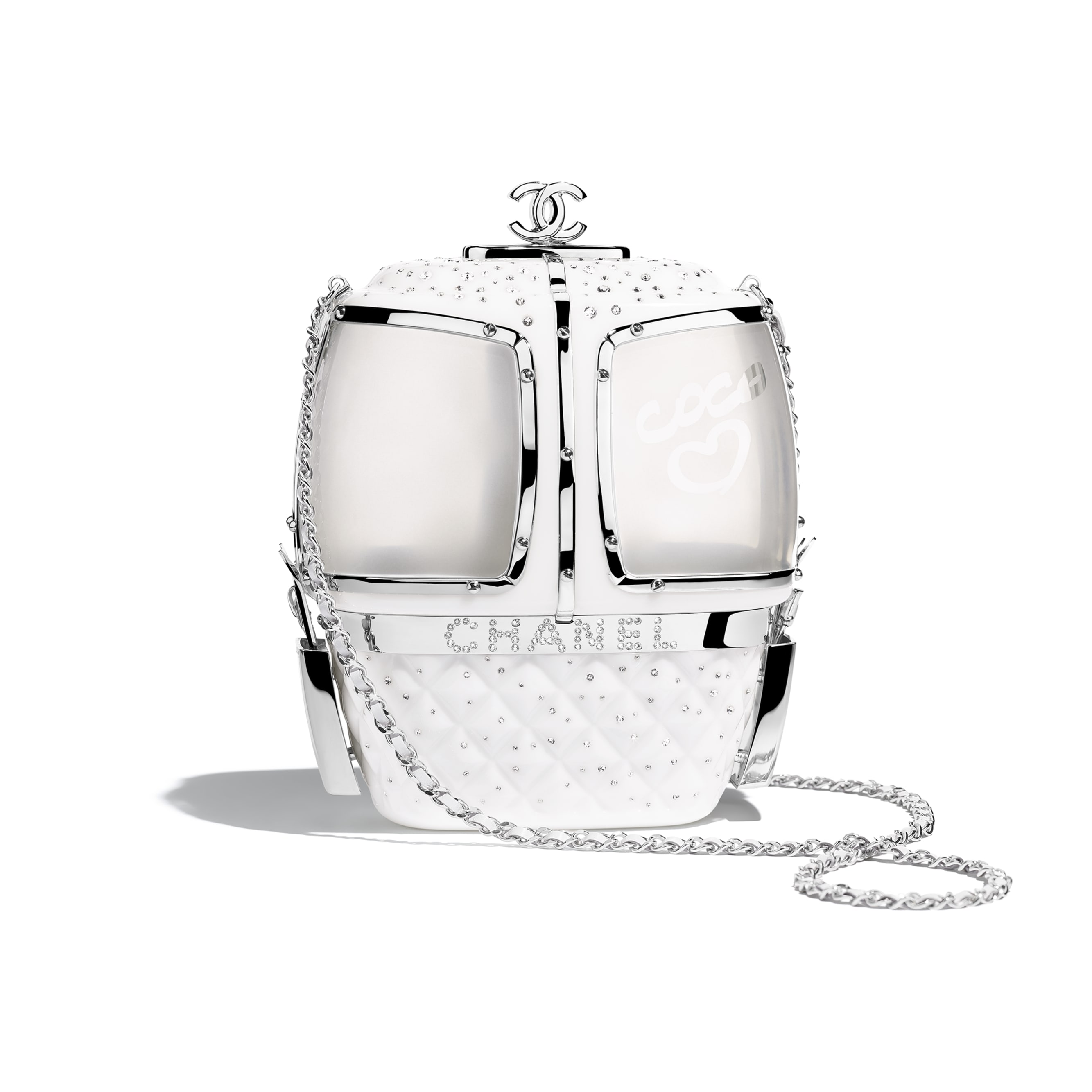 Вечерняя сумка - Белый - Смола, стразы и серебристый металл - Вид по умолчанию - посмотреть изображение стандартного размера