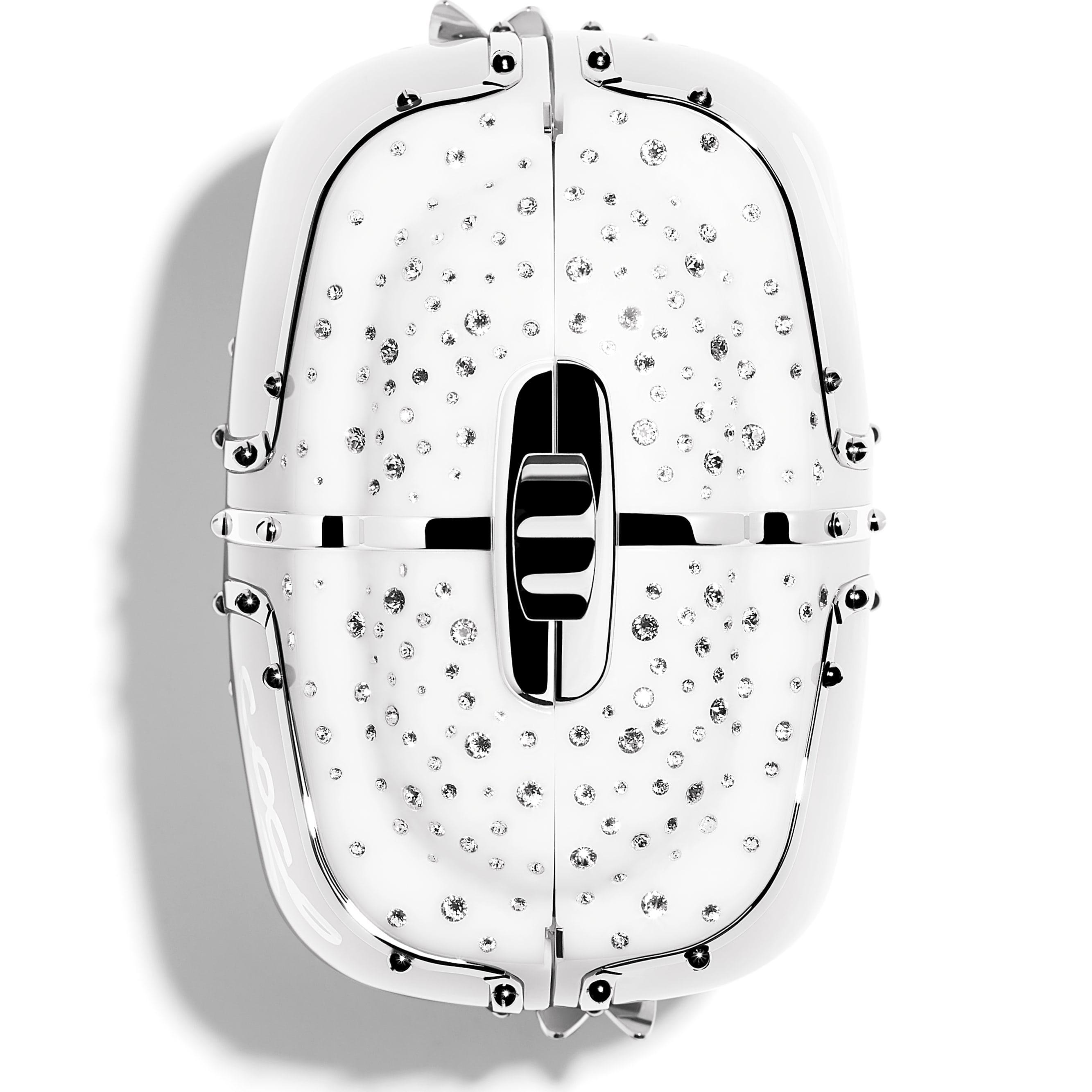 Вечерняя сумка - Белый - Смола, стразы и серебристый металл - Дополнительное изображение - посмотреть изображение стандартного размера