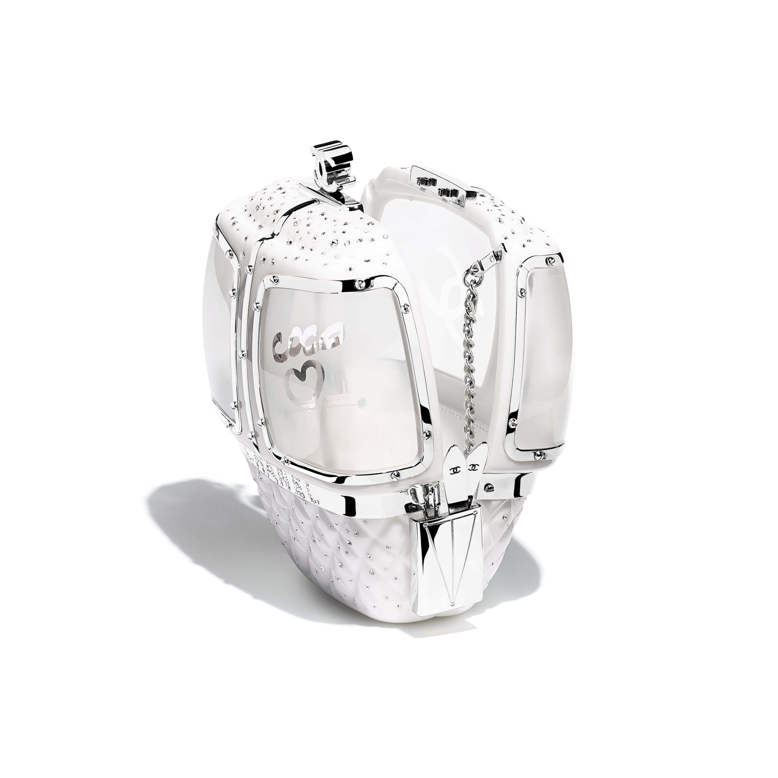 กระเป๋าสำหรับงานกลางคืน - สีขาว - เรซิน, คริสตัล และโลหะสีเงิน - มุมมองอื่น - ดูเวอร์ชันขนาดมาตรฐาน
