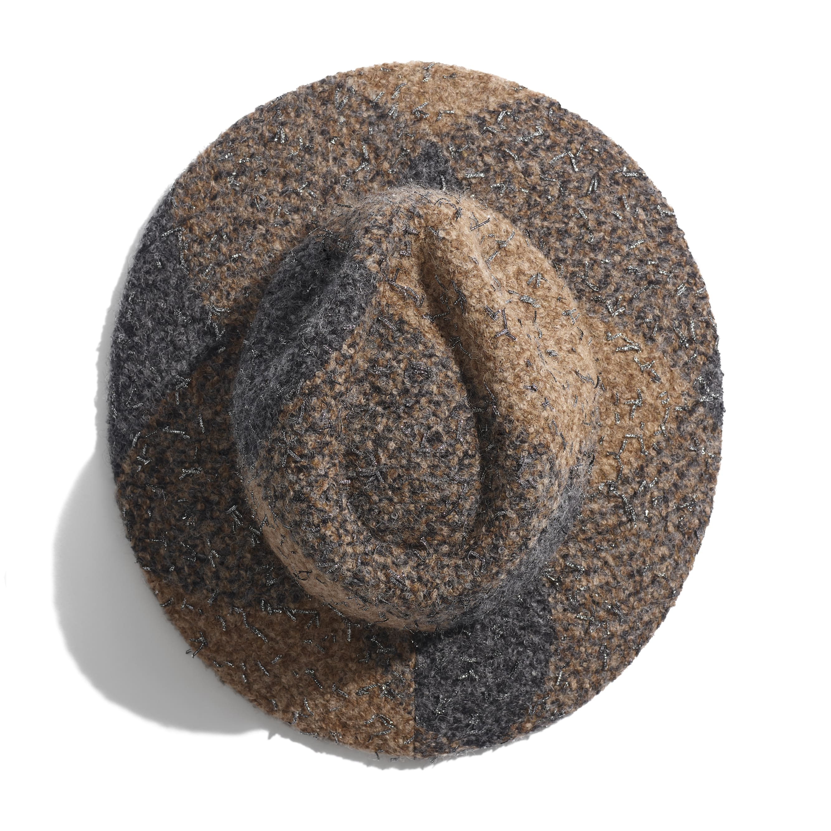 Fedora Hat - Brown & Grey - Felt & Wool Tweed - Alternative view - see standard sized version