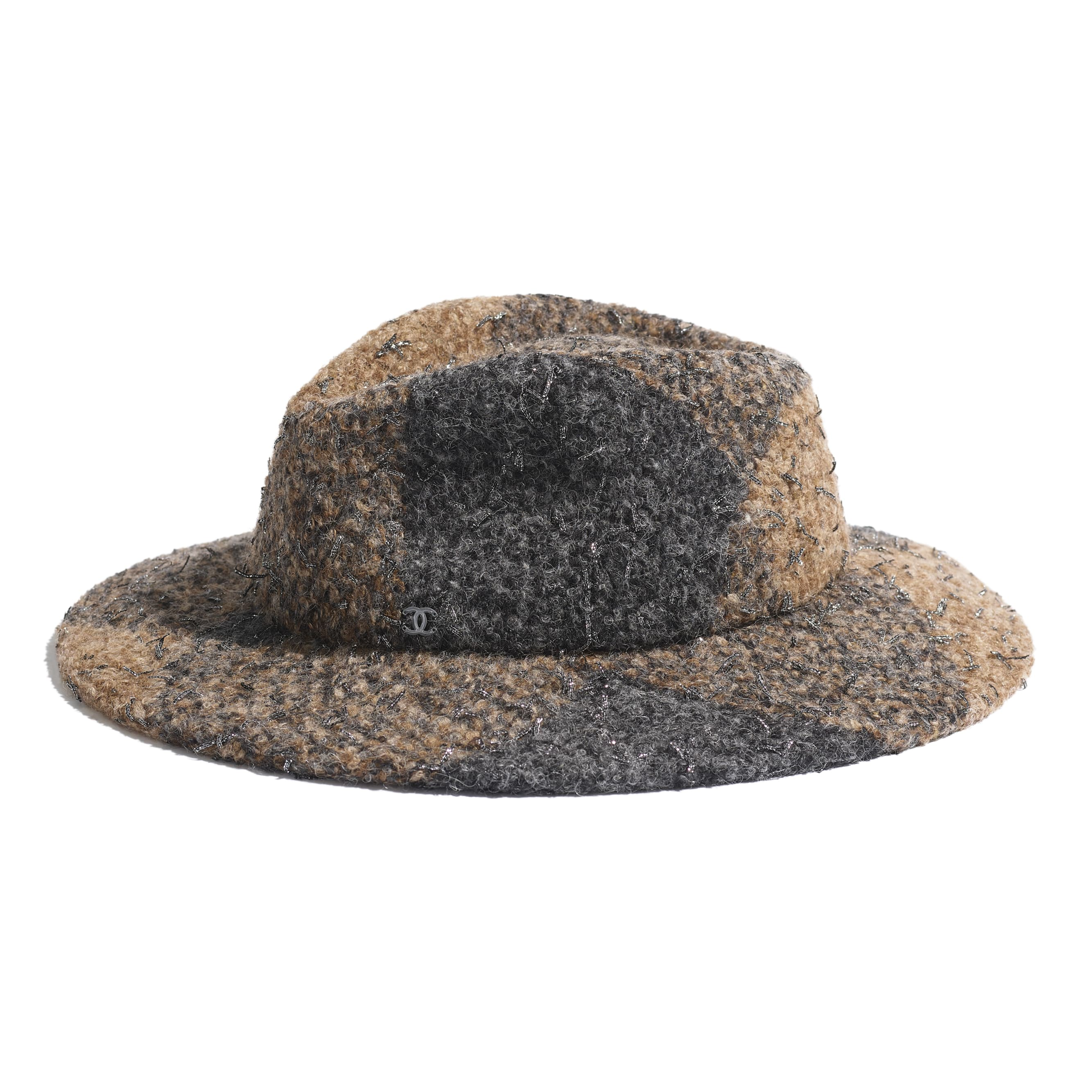 Fedora Hat - Brown & Grey - Felt & Wool Tweed - Default view - see standard sized version