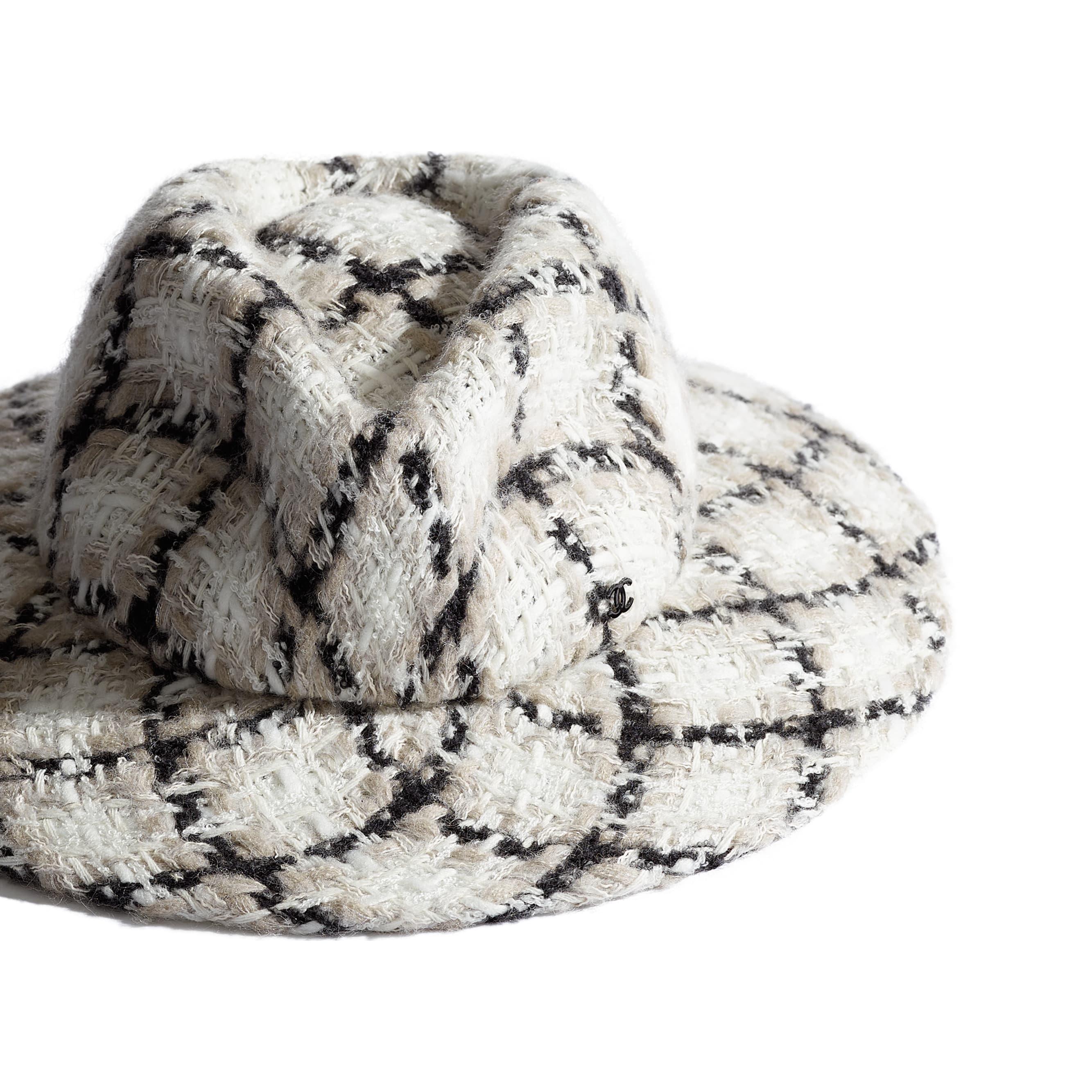 Fedora Hat - Ecru, Black & Grey - Felt & Wool Tweed - Alternative view - see standard sized version
