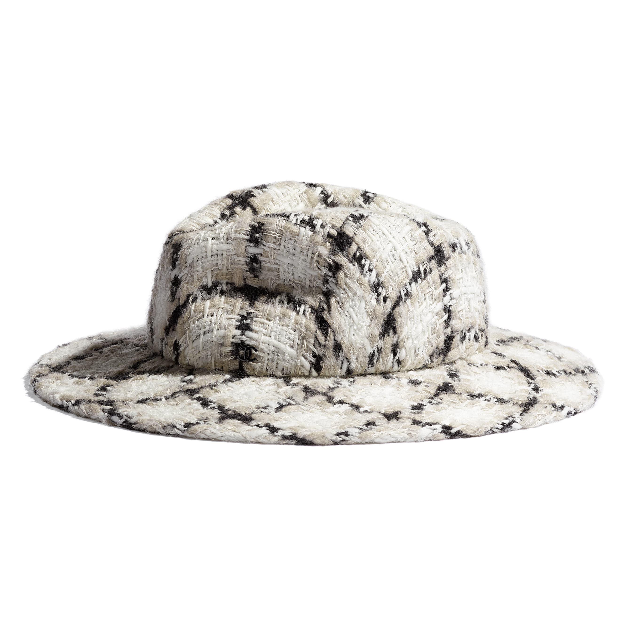 Fedora Hat - Ecru, Black & Grey - Felt & Wool Tweed - Default view - see standard sized version