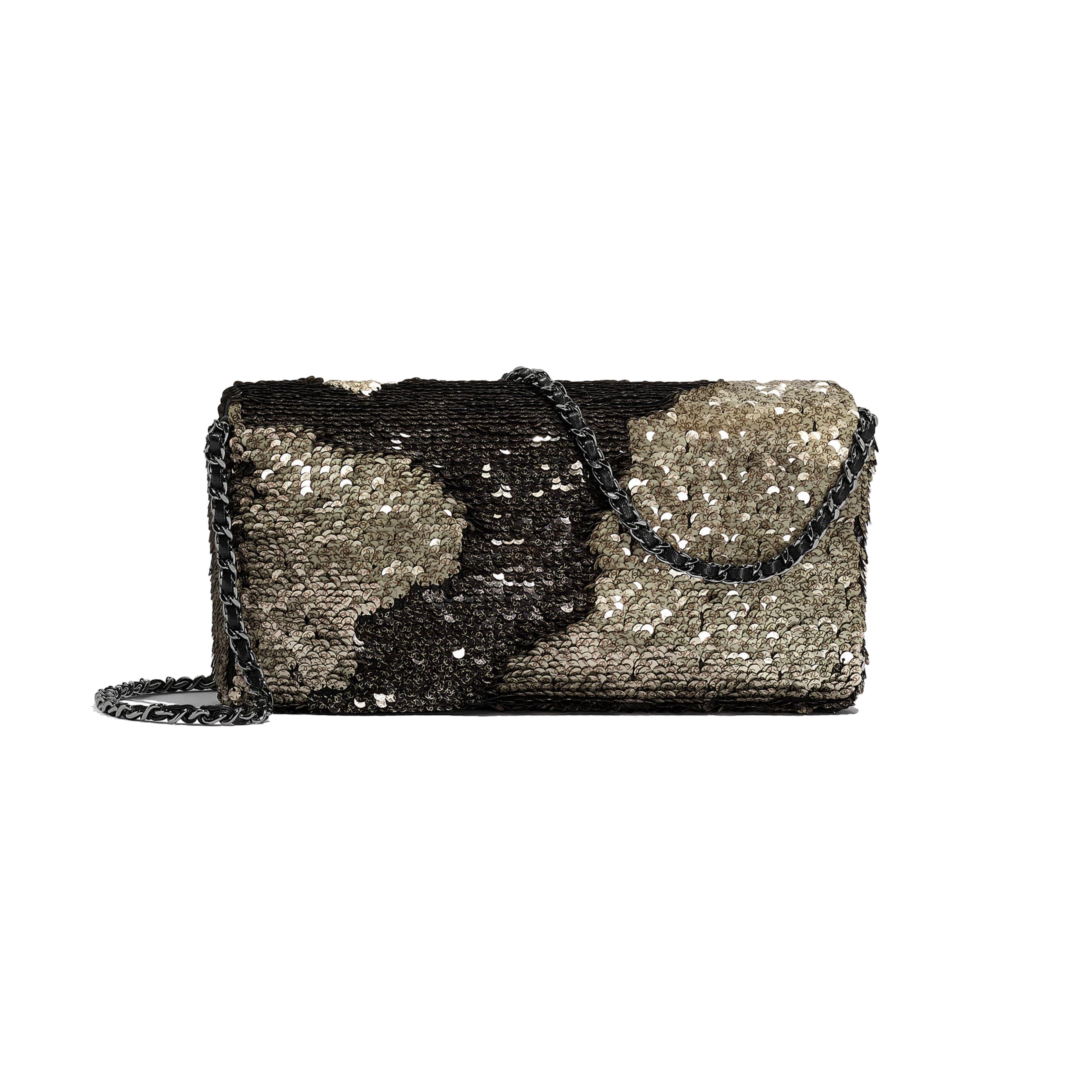 Flap Bag - Beige & Black - Sequins, Lambskin & Ruthenium-Finish Metal - CHANEL - Alternative view - see standard sized version