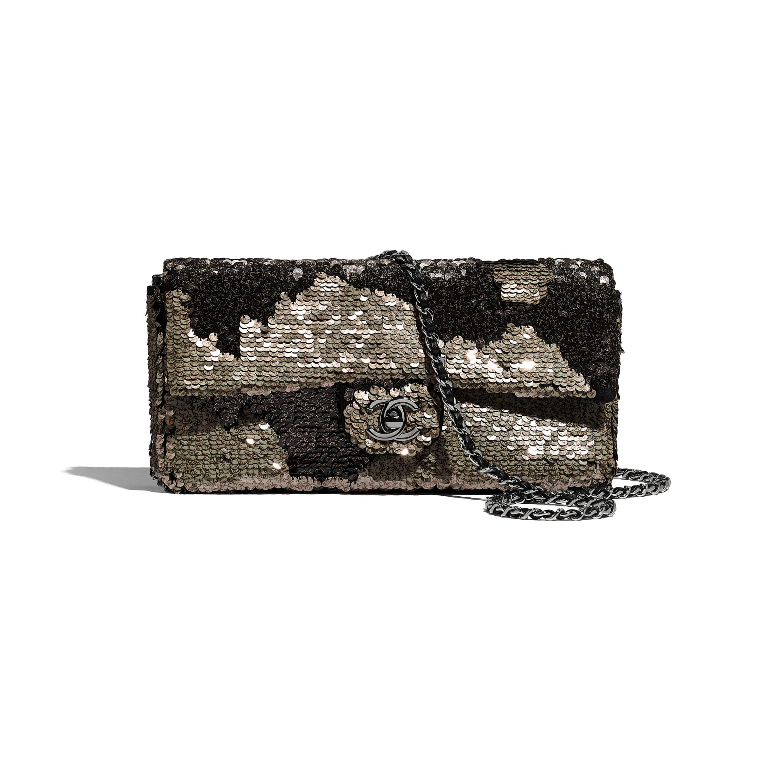 Flap Bag - Beige & Black - Sequins, Lambskin & Ruthenium-Finish Metal - CHANEL - Default view - see standard sized version