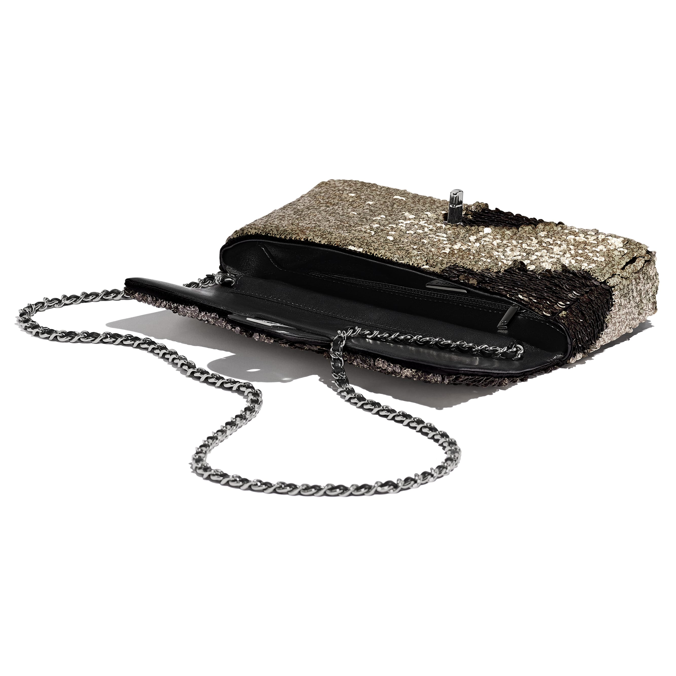Flap Bag - Beige & Black - Sequins, Lambskin & Ruthenium-Finish Metal - CHANEL - Other view - see standard sized version