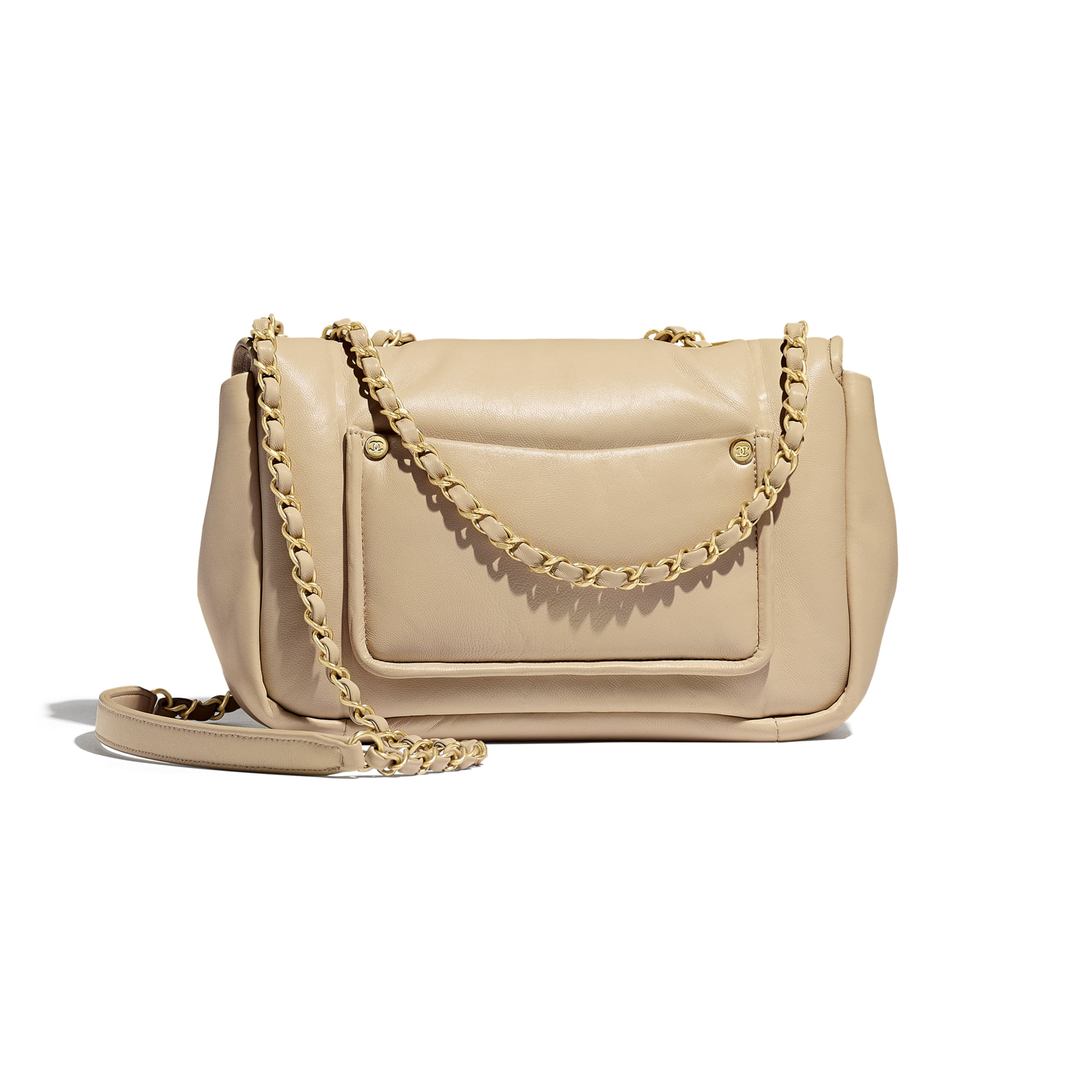 Flap Bag - Beige - Lambskin - Alternative view - see standard sized version