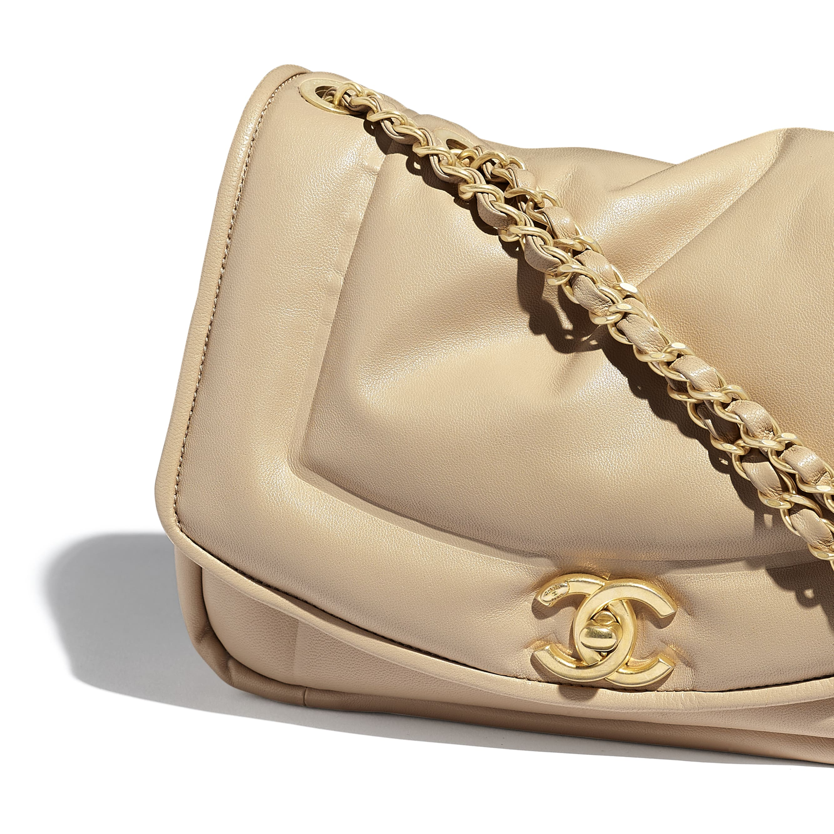Flap Bag - Beige - Lambskin - Extra view - see standard sized version