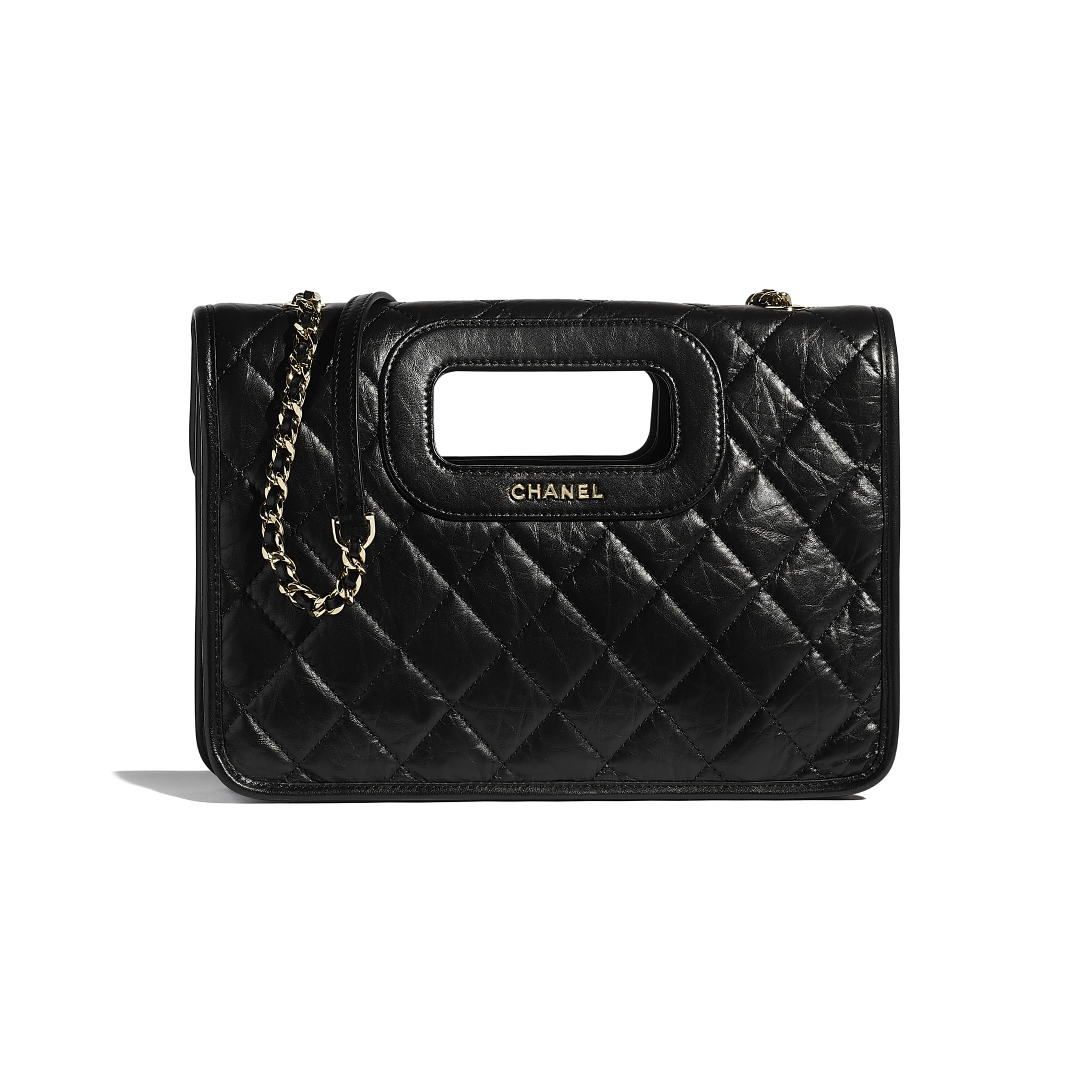Flap Bag - Black - Aged Calfskin, Charms & Gold-Tone Metal - CHANEL - Alternative view - see standard sized version