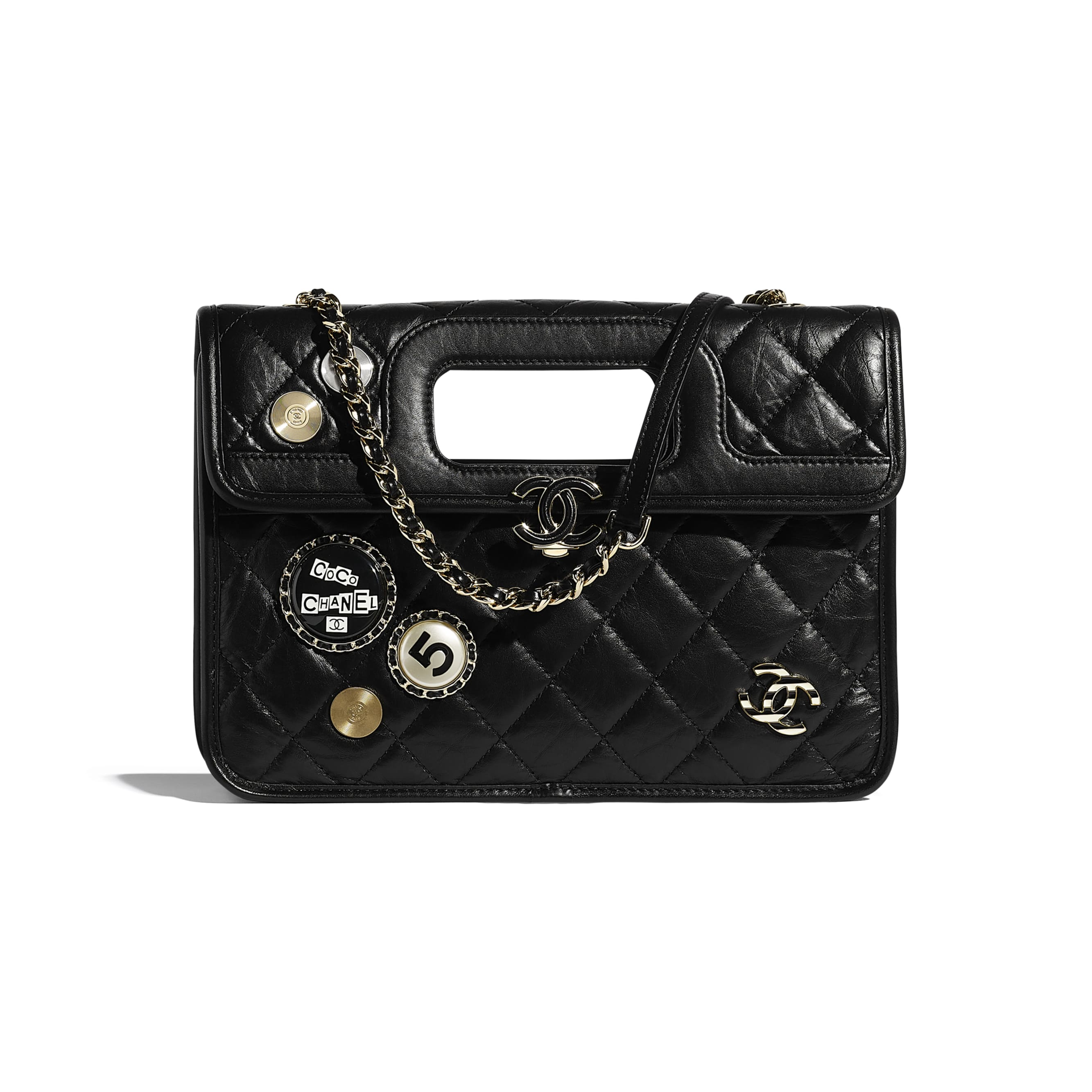 Flap Bag - Black - Aged Calfskin, Charms & Gold-Tone Metal - CHANEL - Default view - see standard sized version