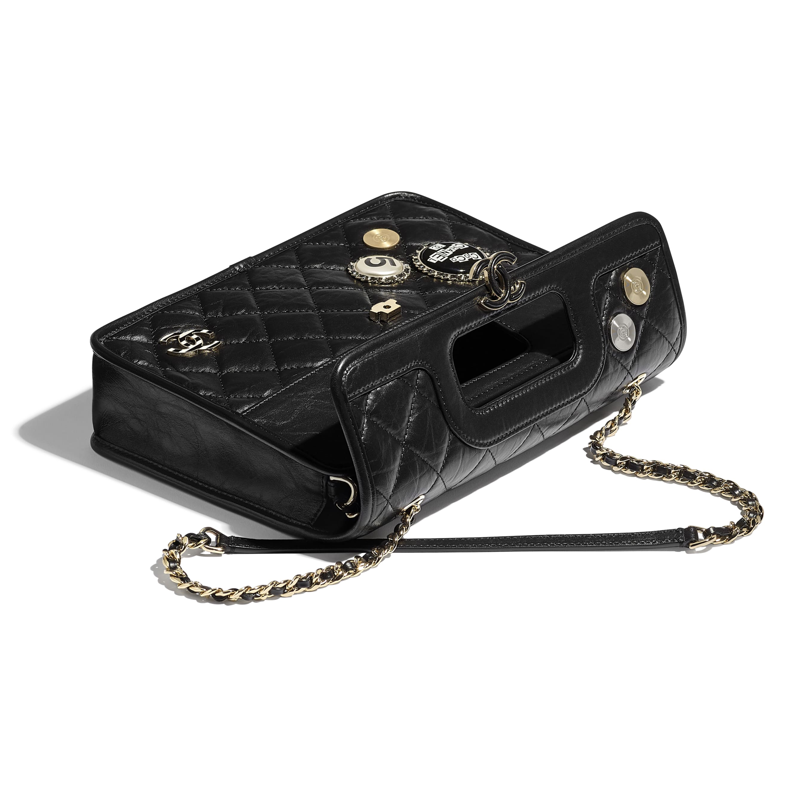 Flap Bag - Black - Aged Calfskin, Charms & Gold Metal - Extra view - see standard sized version