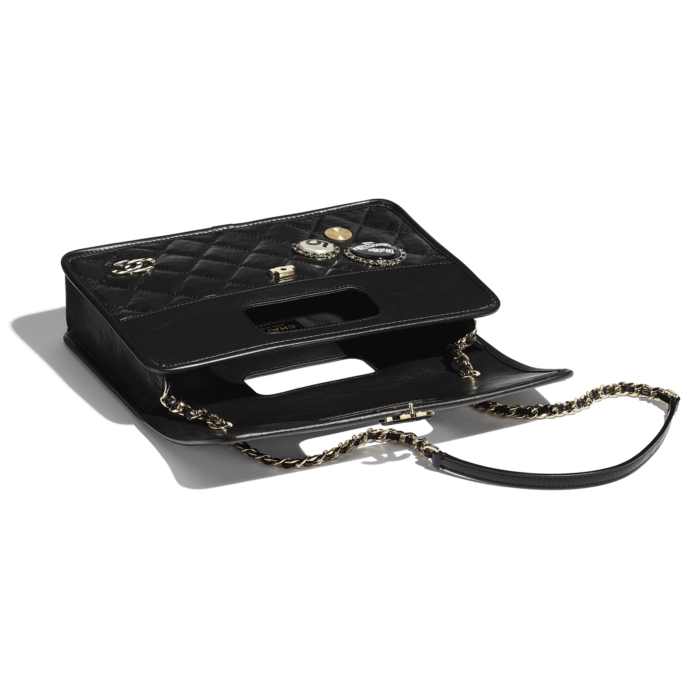 Flap Bag - Black - Aged Calfskin, Charms & Gold Metal - Other view - see standard sized version