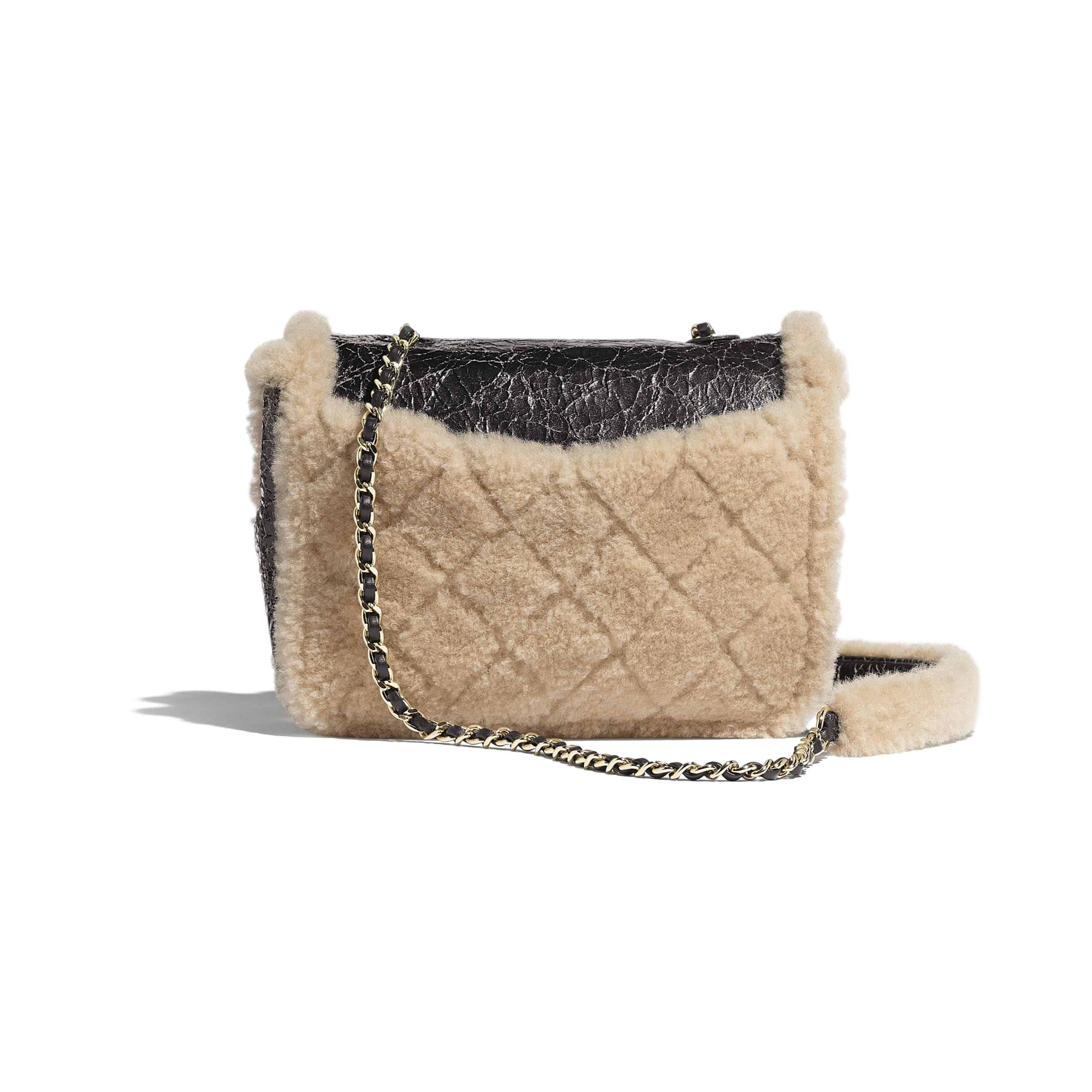 Flap Bag - Black & Beige - Shiny Crumpled Sheepskin, Shearling Sheepskin & Gold-Tone Metal - Alternative view - see standard sized version