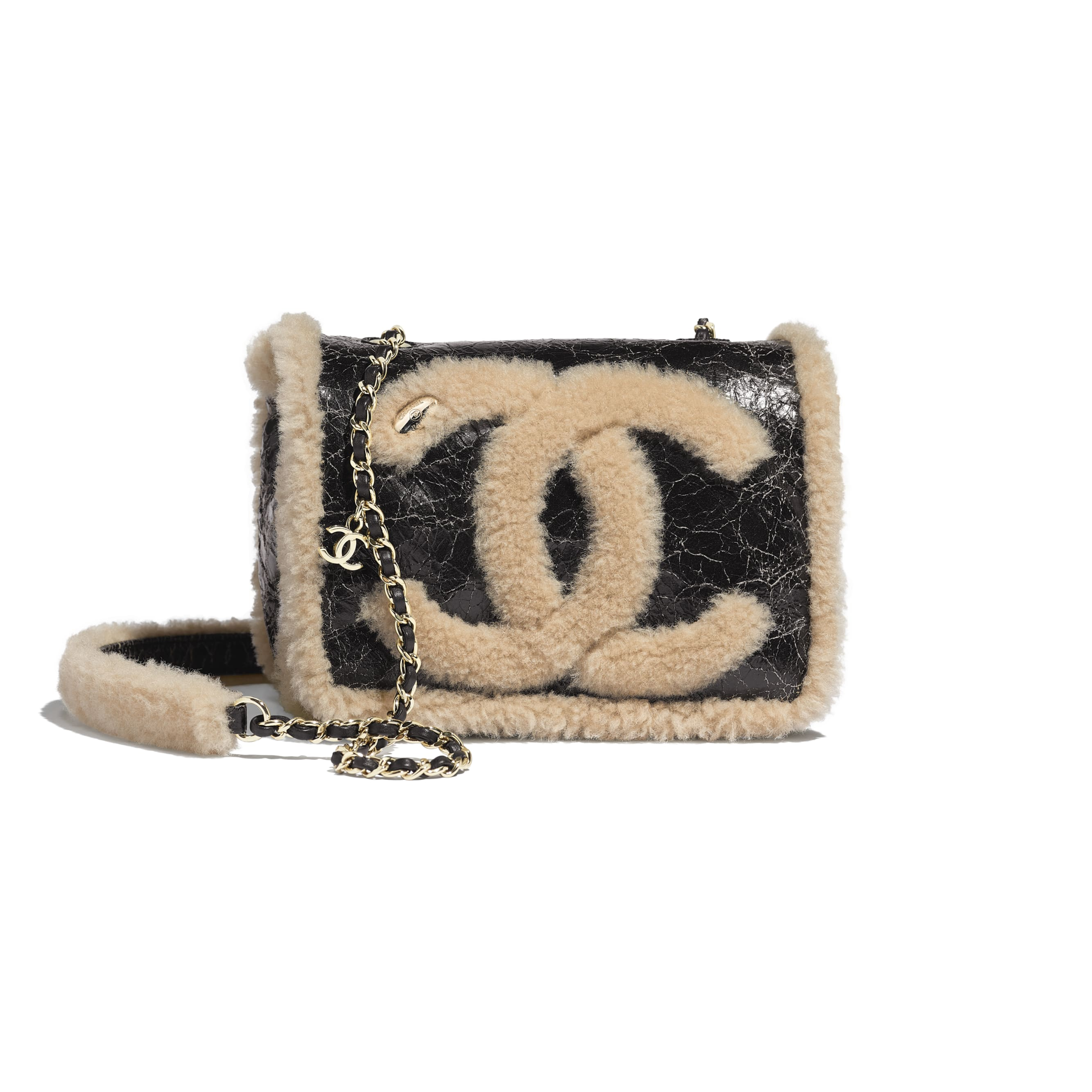 Flap Bag - Black & Beige - Shiny Crumpled Sheepskin, Shearling Sheepskin & Gold-Tone Metal - Default view - see standard sized version