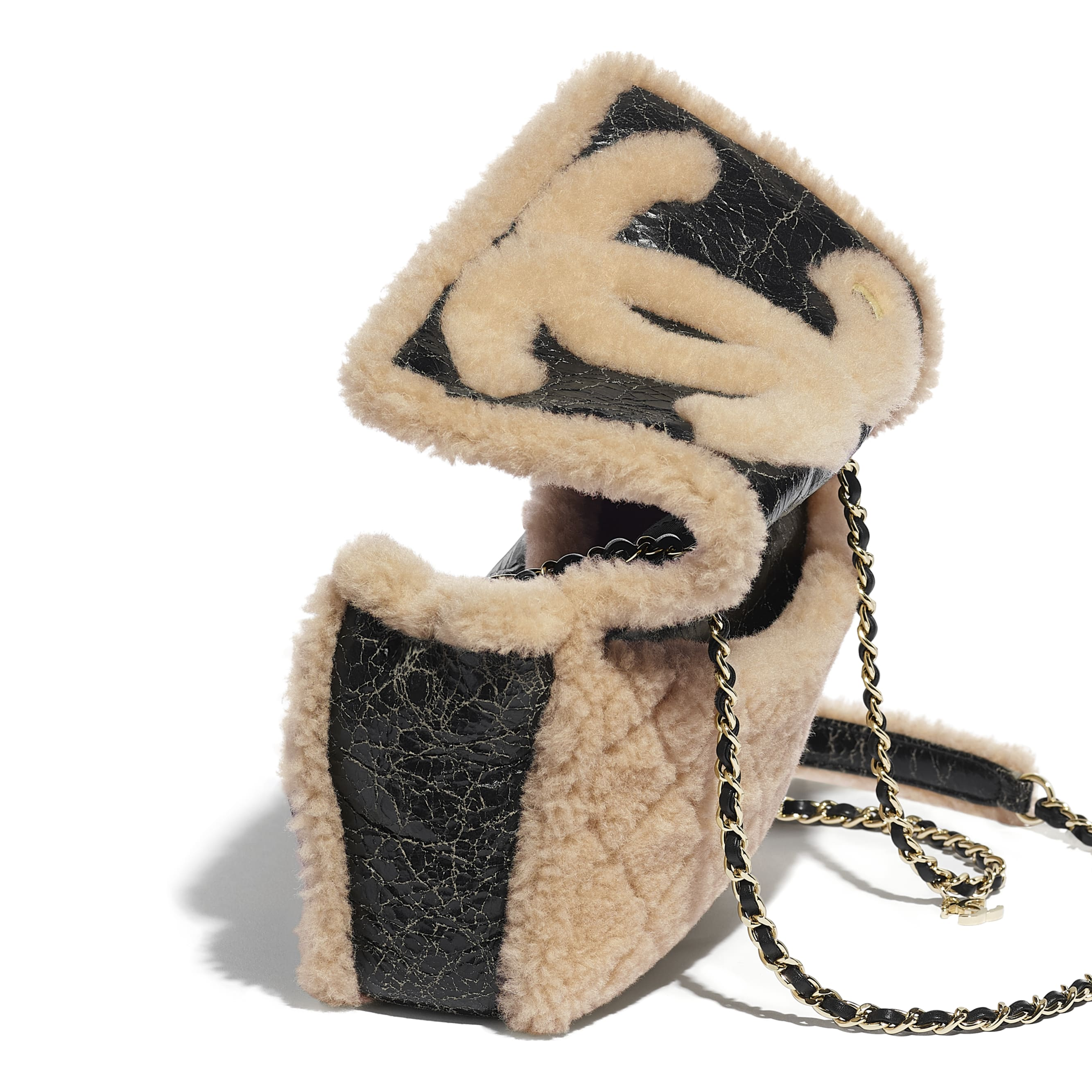 Flap Bag - Black & Beige - Shiny Crumpled Sheepskin, Shearling Sheepskin & Gold-Tone Metal - Extra view - see standard sized version